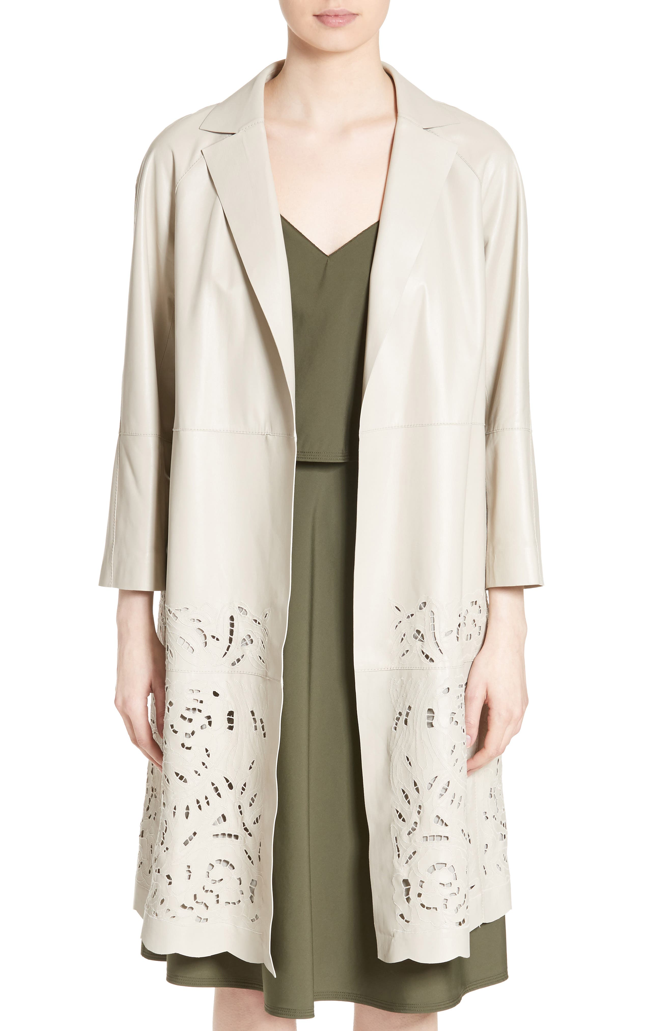 Lafayette 148 New York Delcy Embroidered Leather Topper