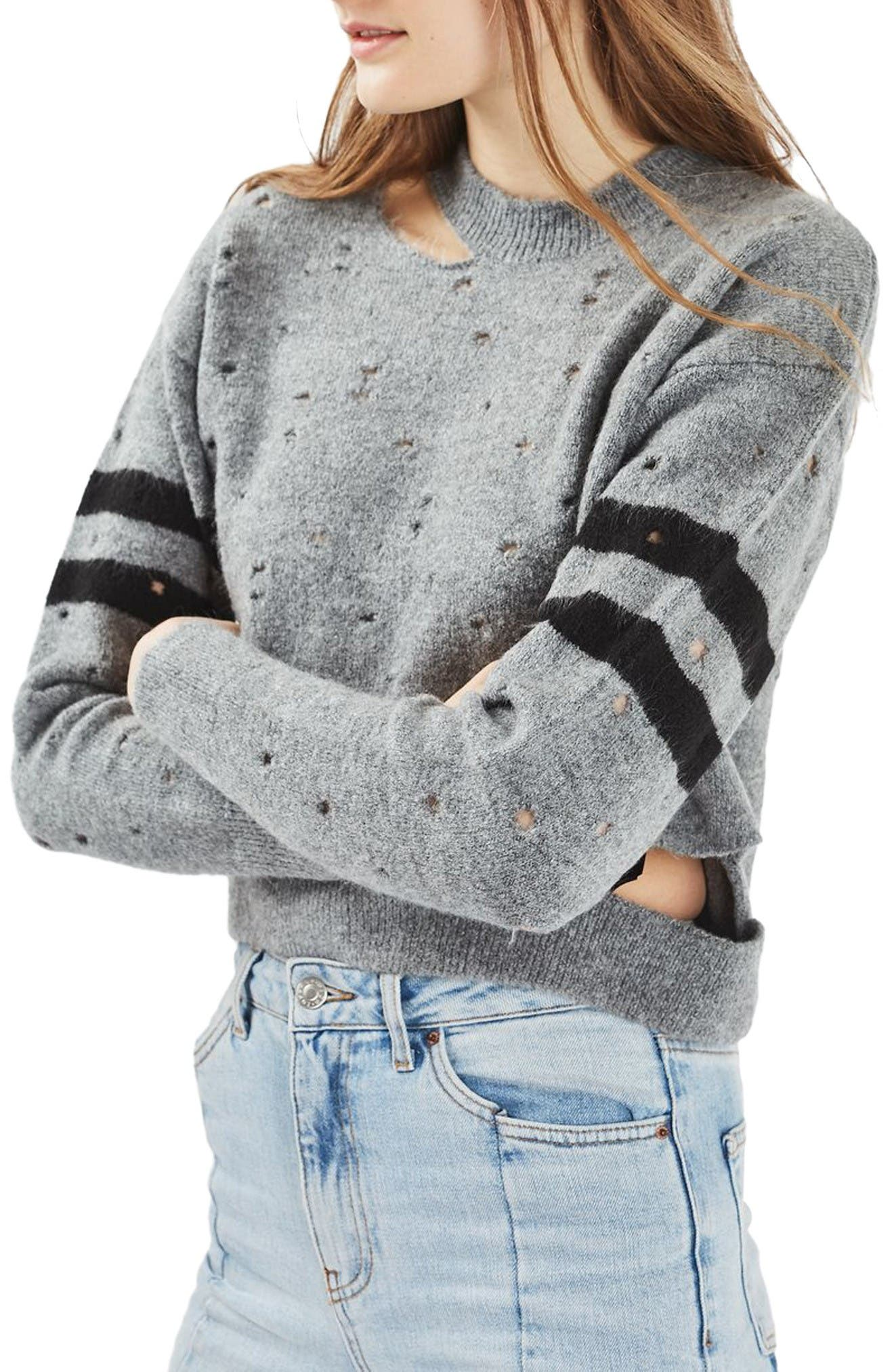 Main Image - Topshop Nibbled Stripe Sweater