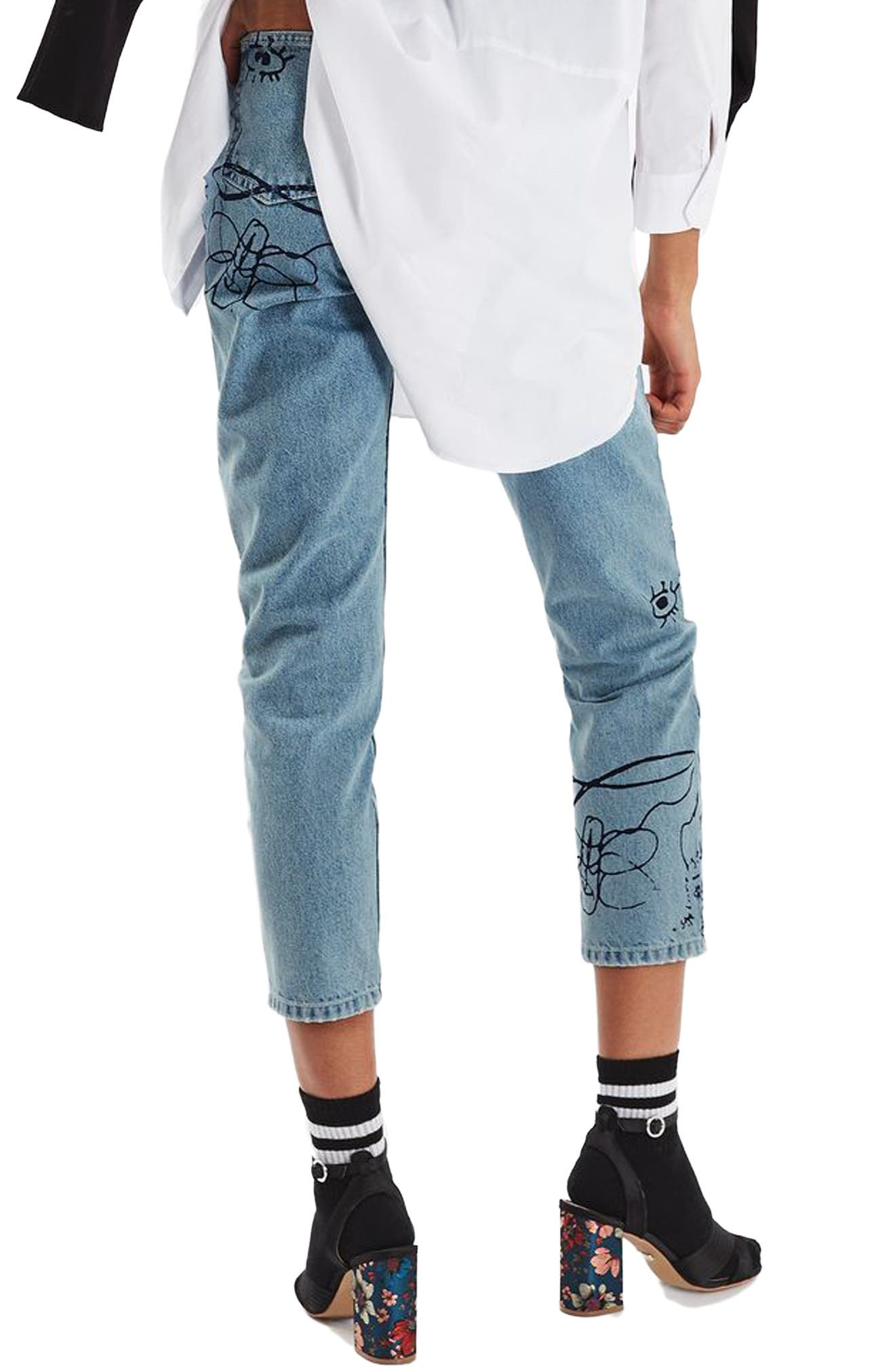 Alternate Image 3  - Topshop Scribble Crop Mom Jeans