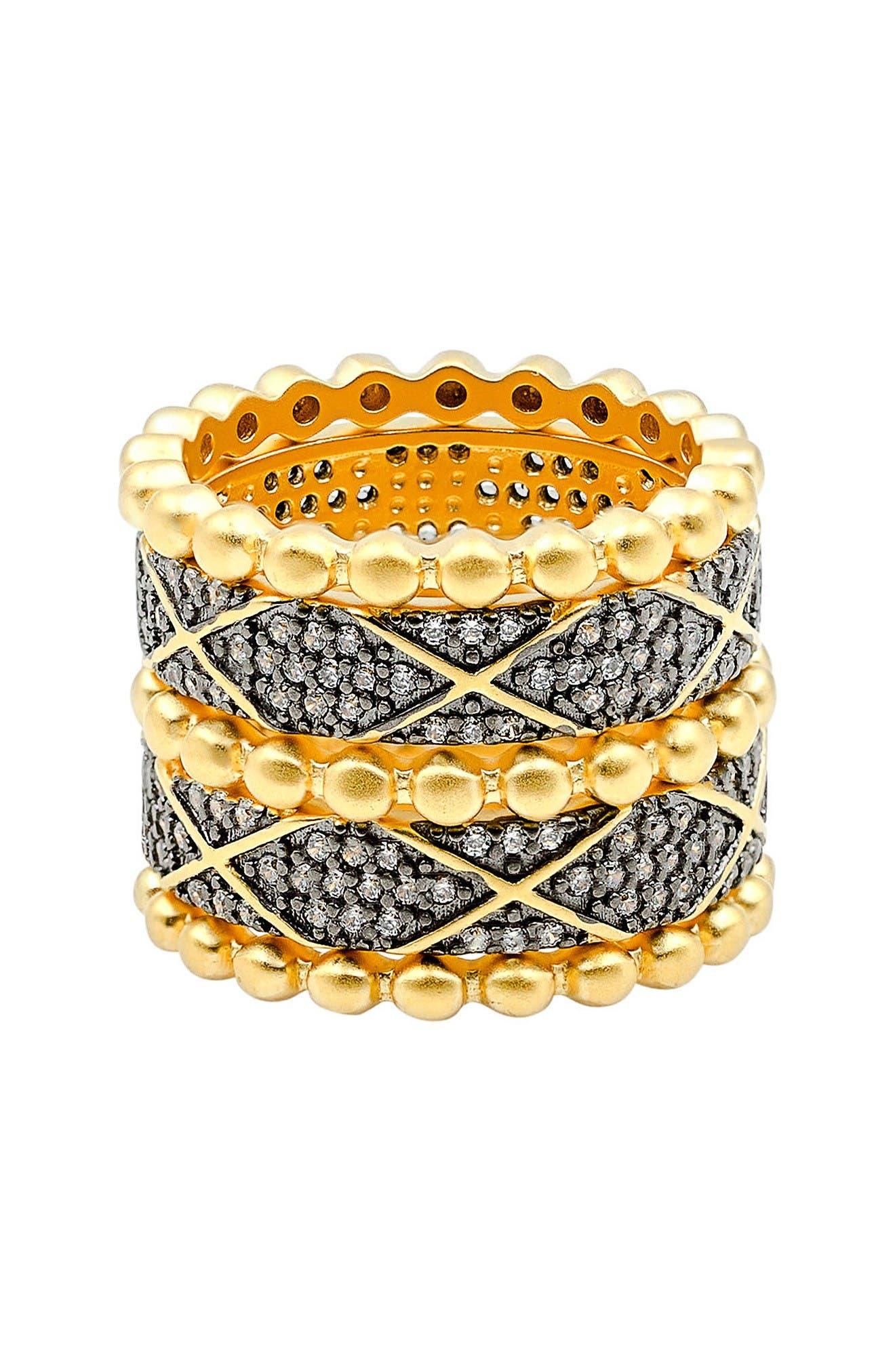 Main Image - FREIDA ROTHMAN Baroque Blues Set of 5 Stackable Rings