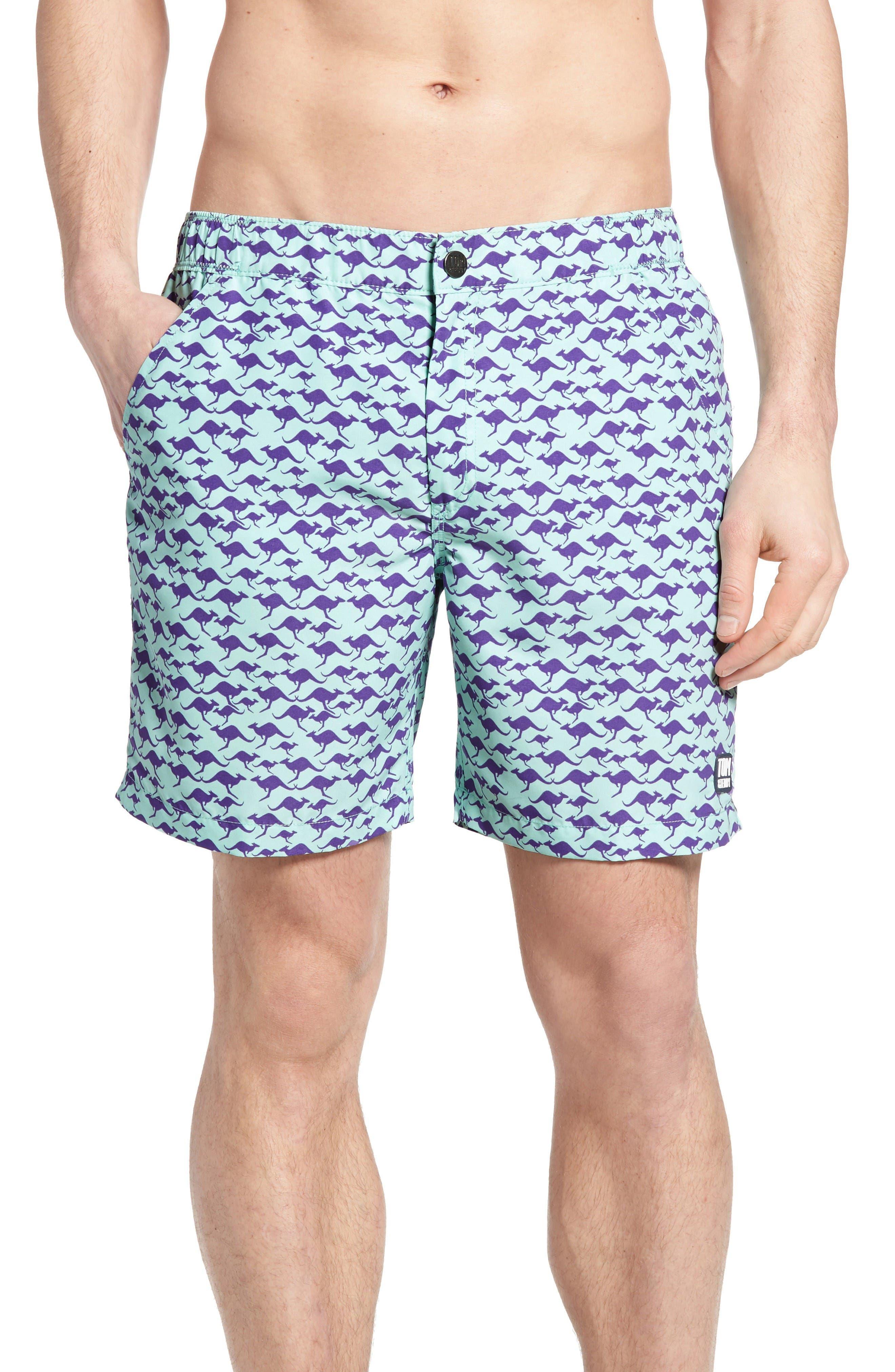 Tom & Teddy Kangaroo Print Swim Trunks