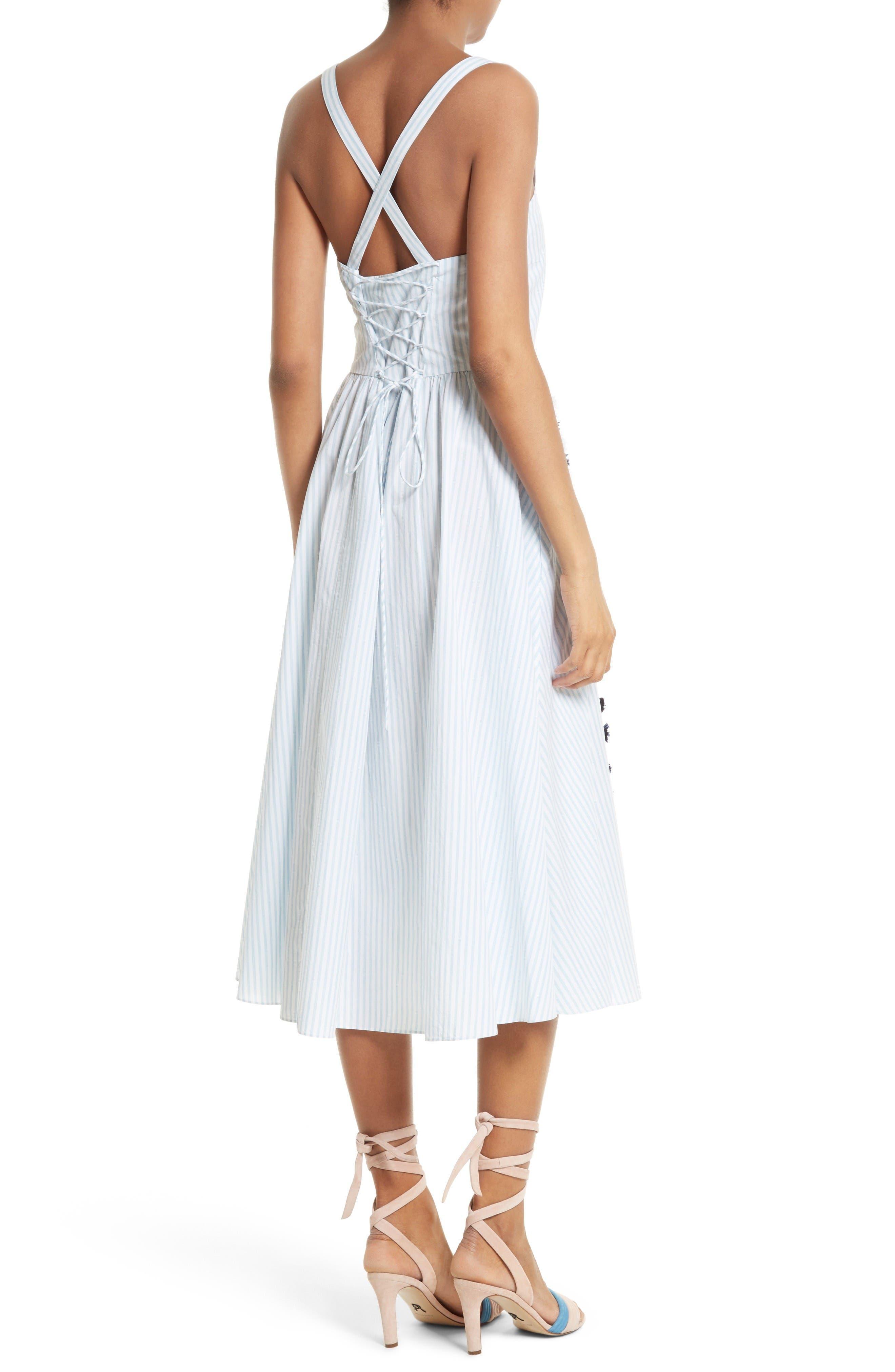 Alternate Image 2  - Tanya Taylor Pari Embroidered Menswear Stripe Dress