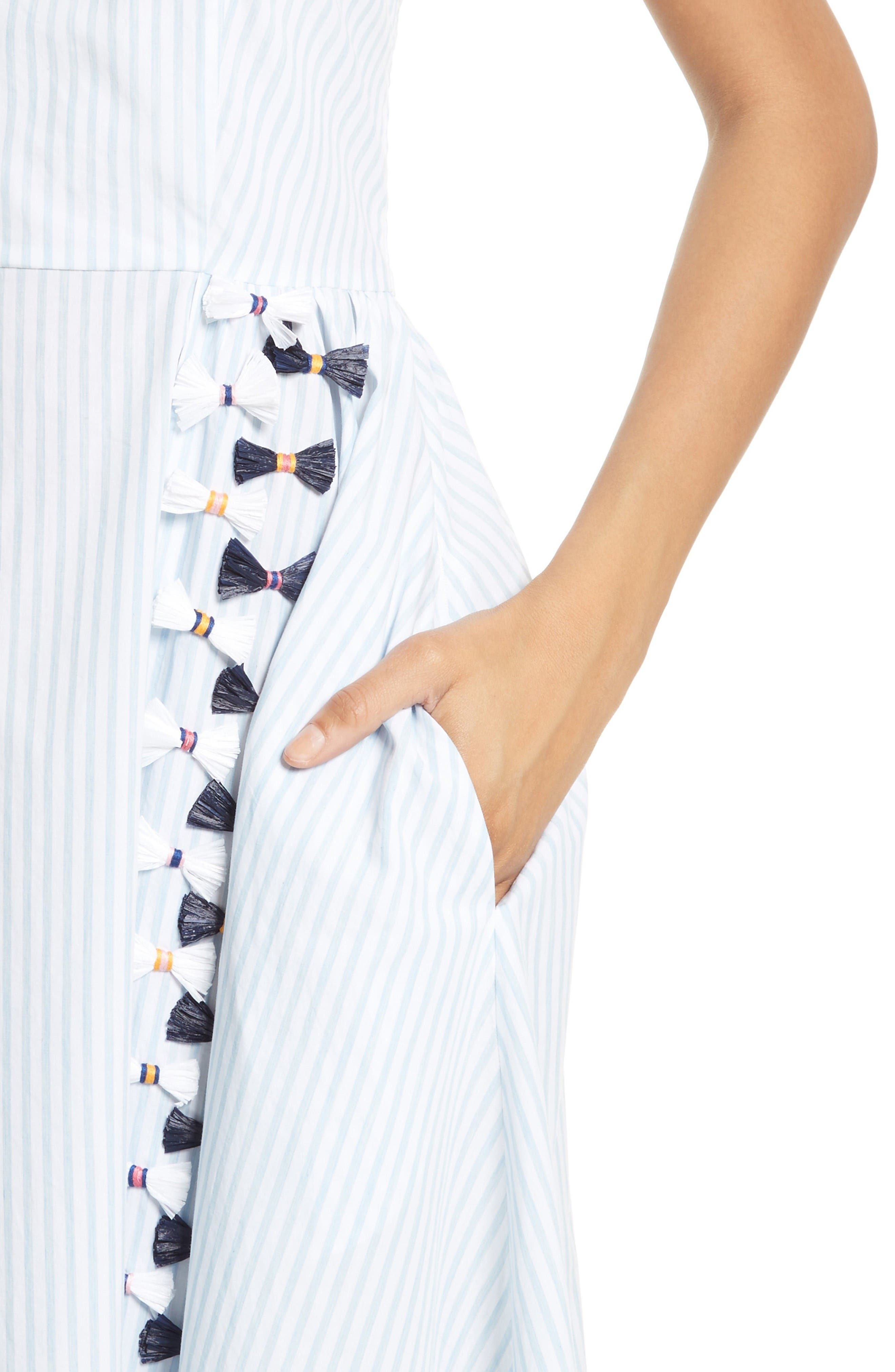 Alternate Image 4  - Tanya Taylor Pari Embroidered Menswear Stripe Dress