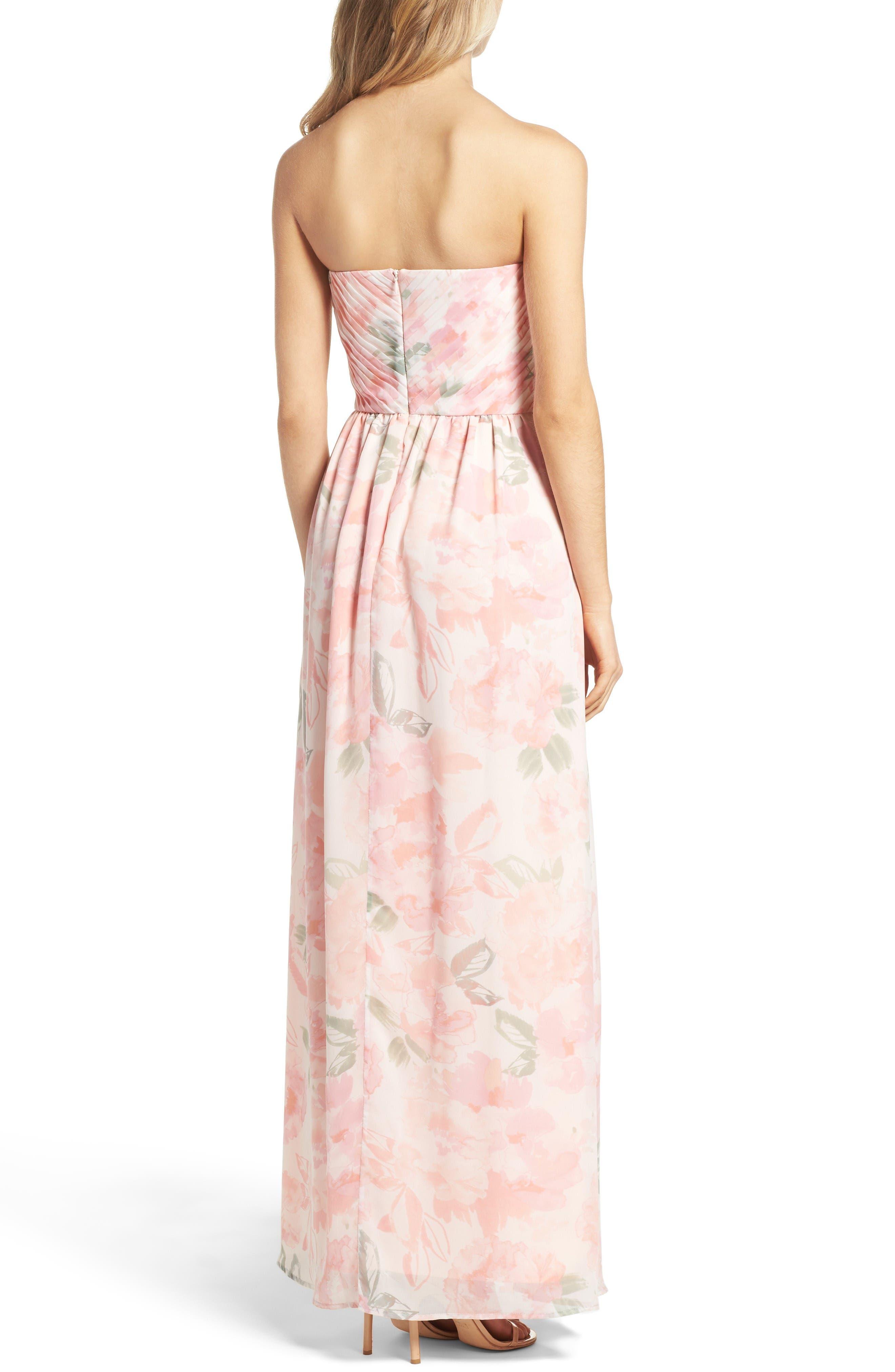 Alternate Image 2  - Plum Pretty Sugar Floral Strapless Gown