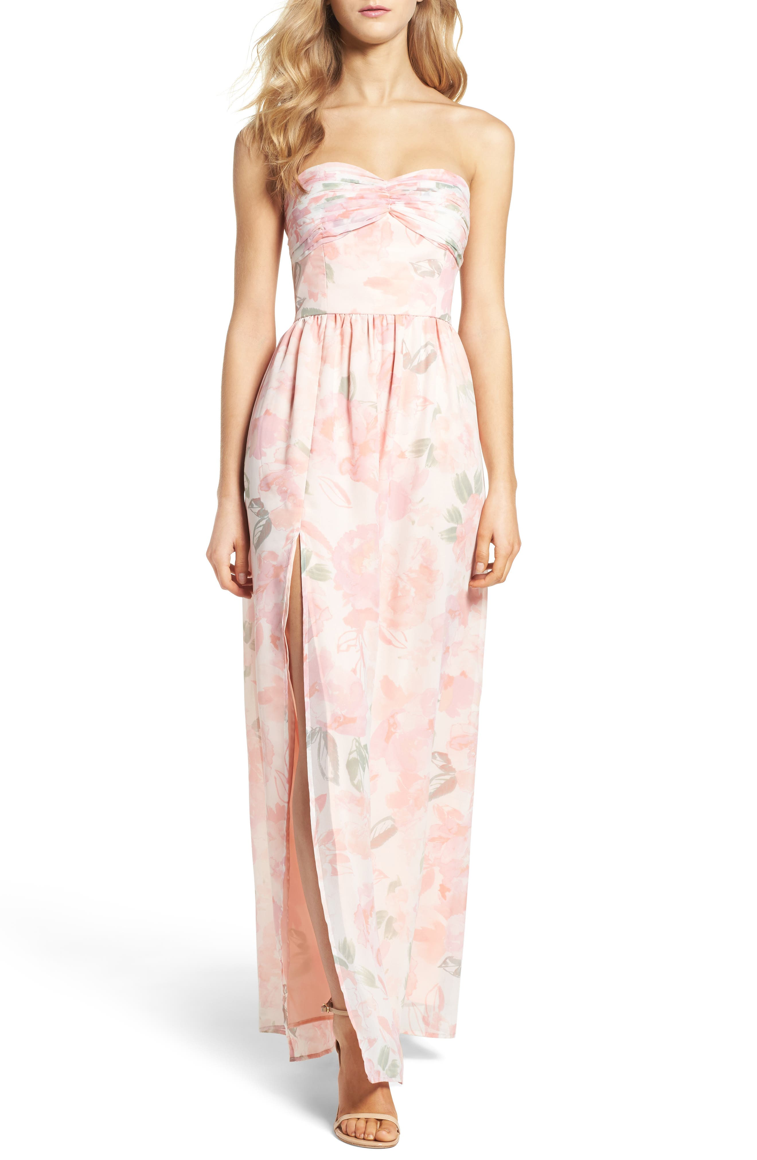 Plum Pretty Sugar Floral Strapless Gown