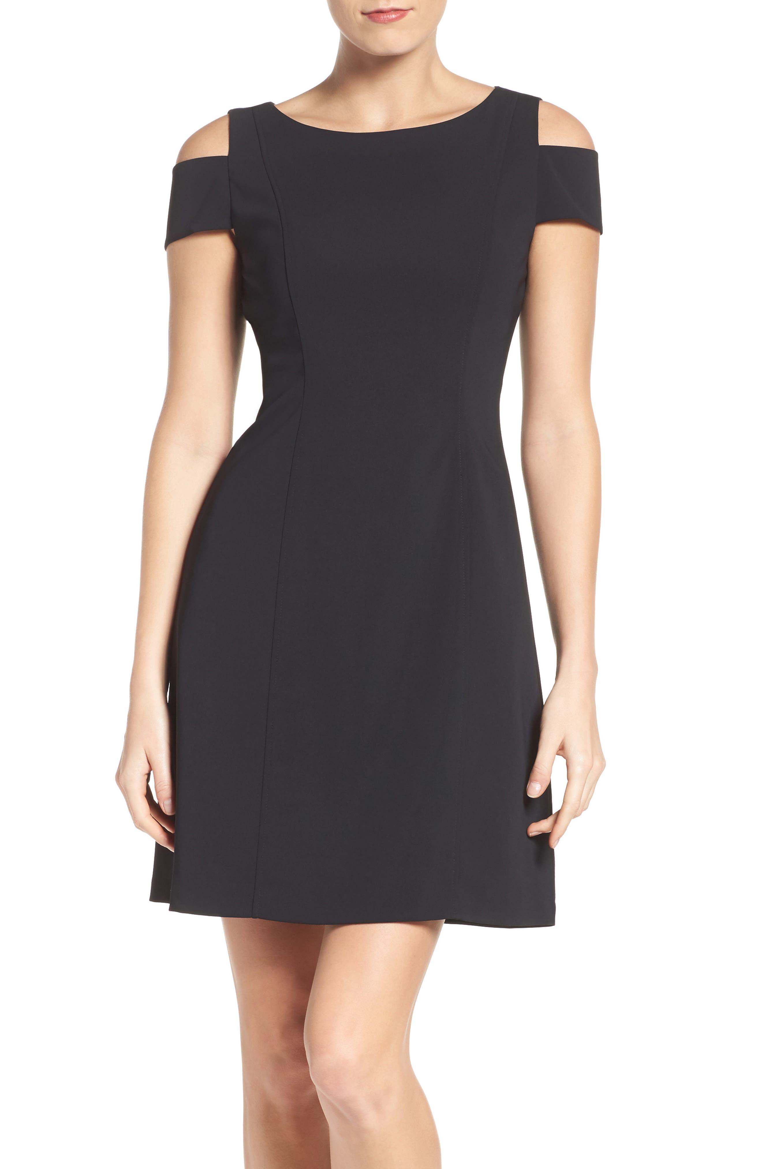 Main Image - Adrianna Papell Cold Shoulder Stretch A-Line Dress