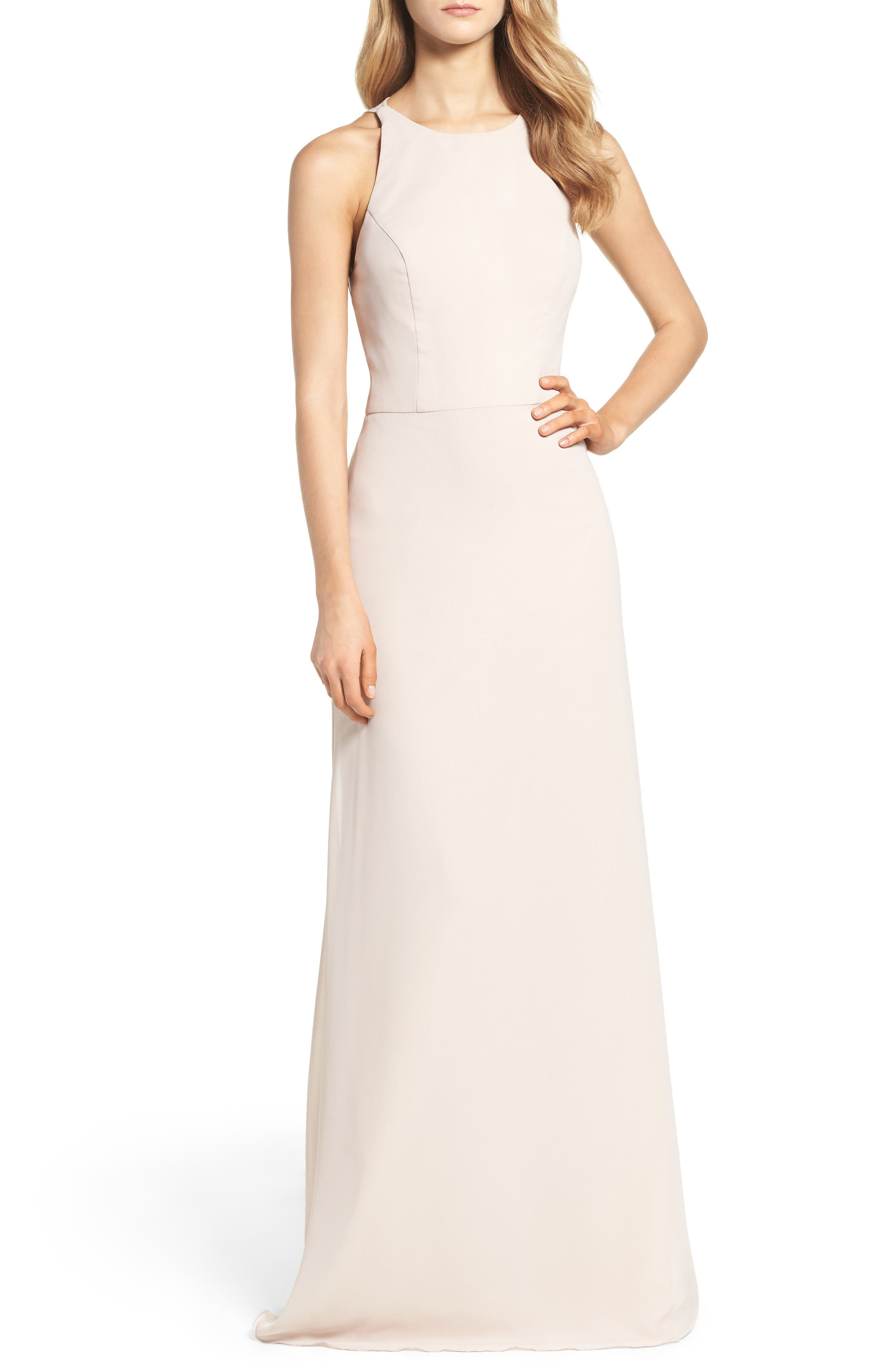 Main Image - Hayley Paige Occasions Crewneck Chiffon Gown