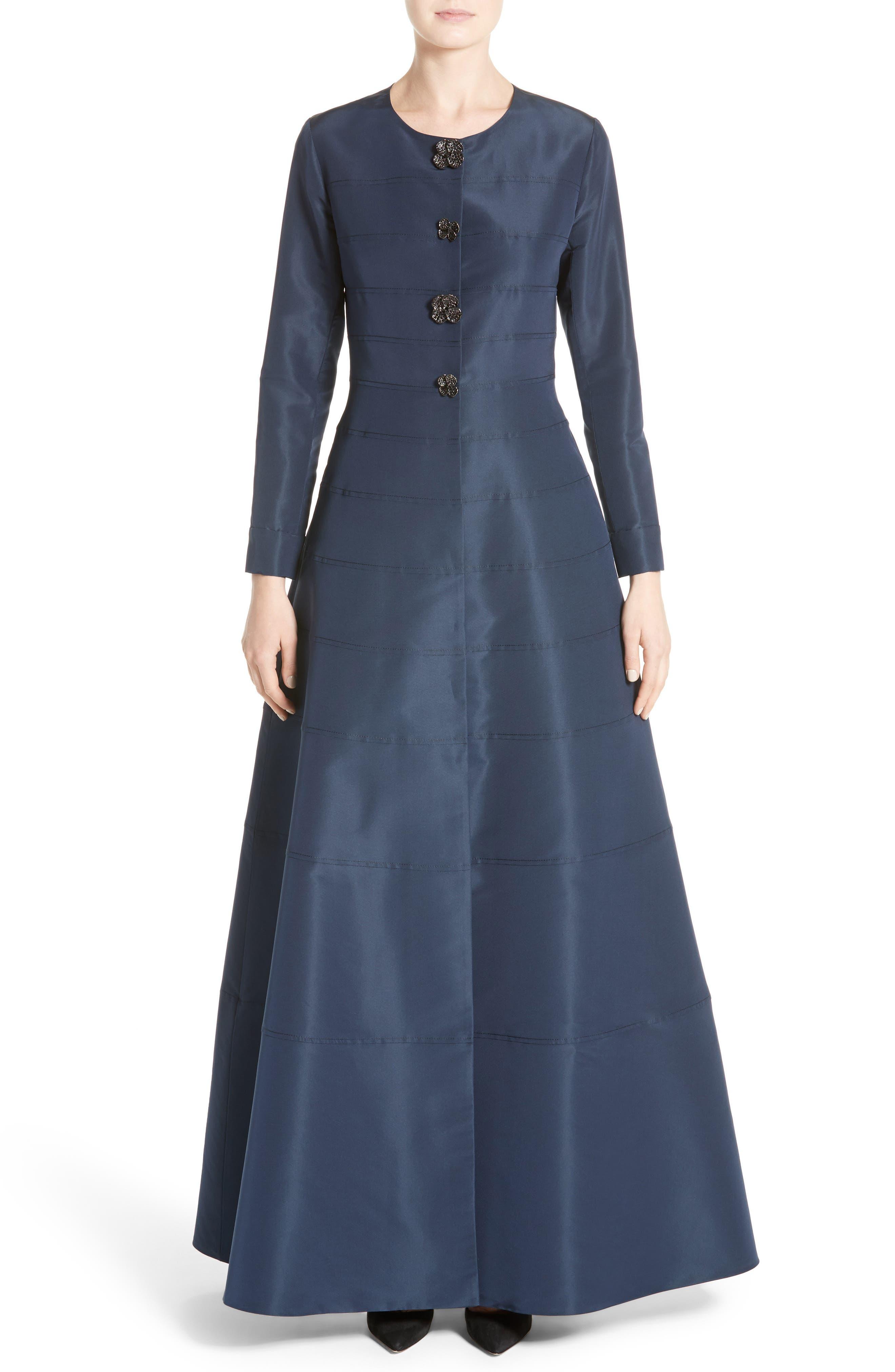 CAROLINA HERRERA Floral Button Silk A-Line Gown