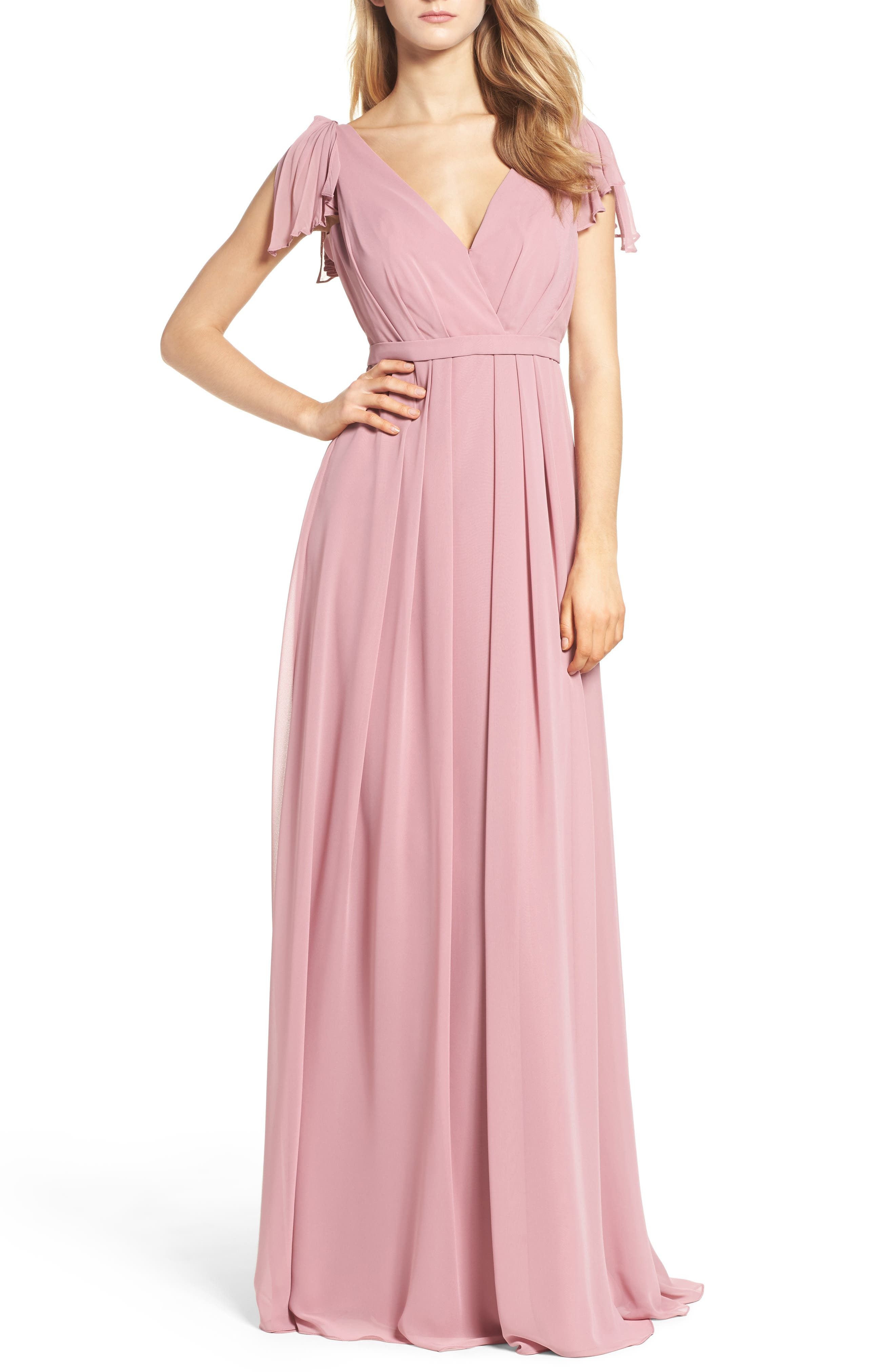 Monique Lhuillier Bridesmaids Sleeveless Deep V-Neck Chiffon Gown (Nordstrom Exclusive)