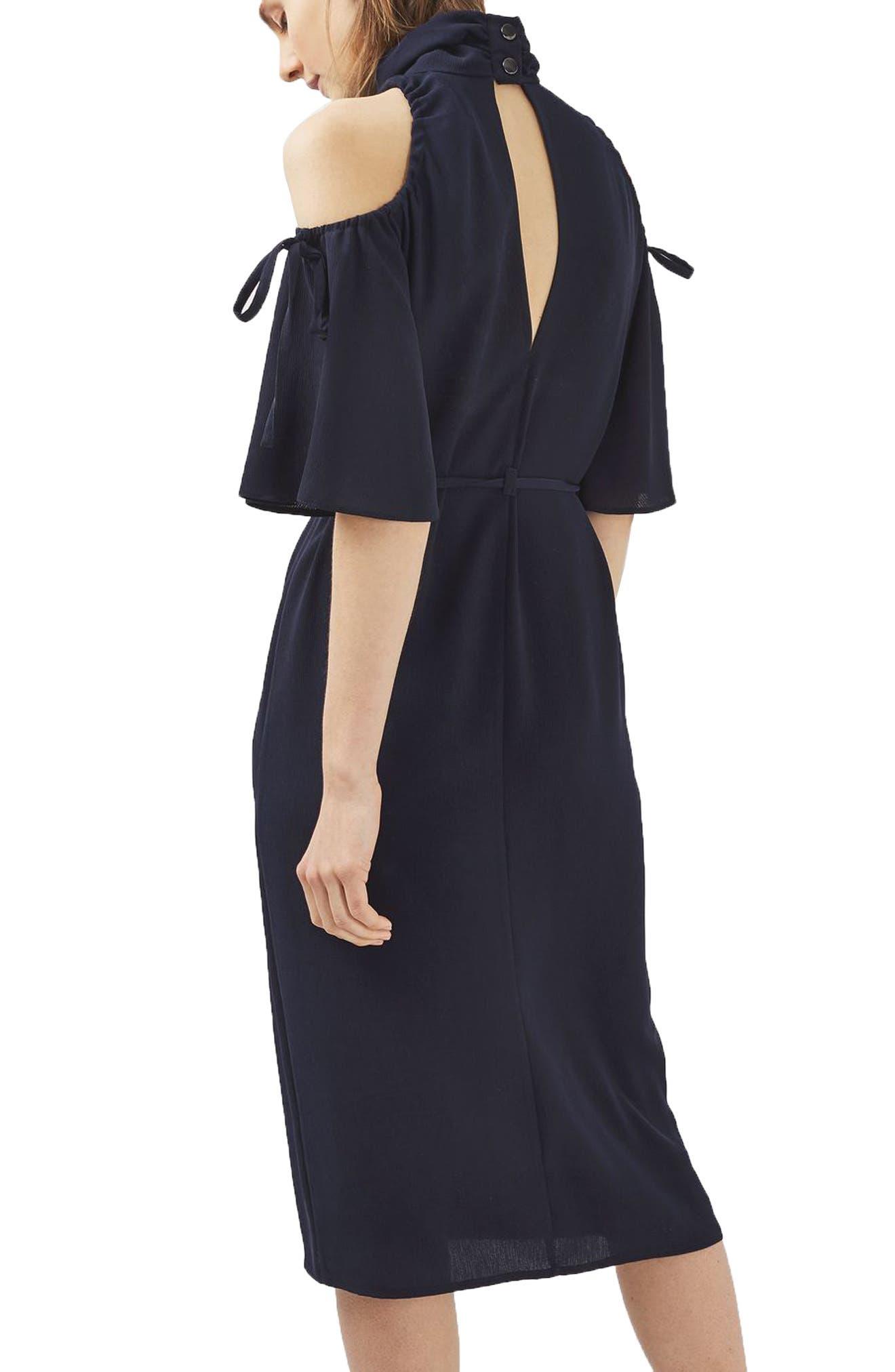 Alternate Image 2  - Topshop High Neck Cold Shoulder Dress