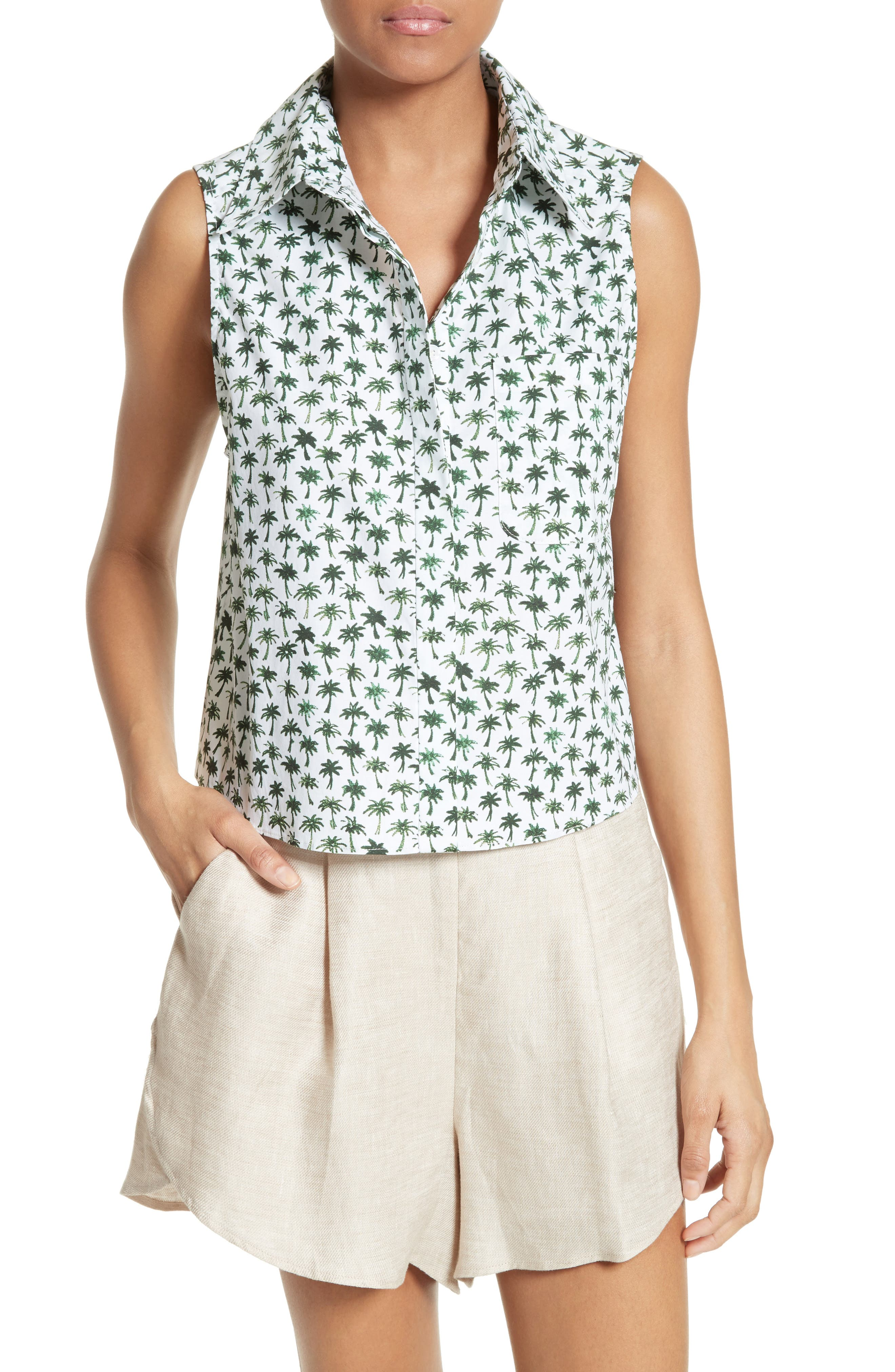 Milly Bambino Palm Print Tie Back Top