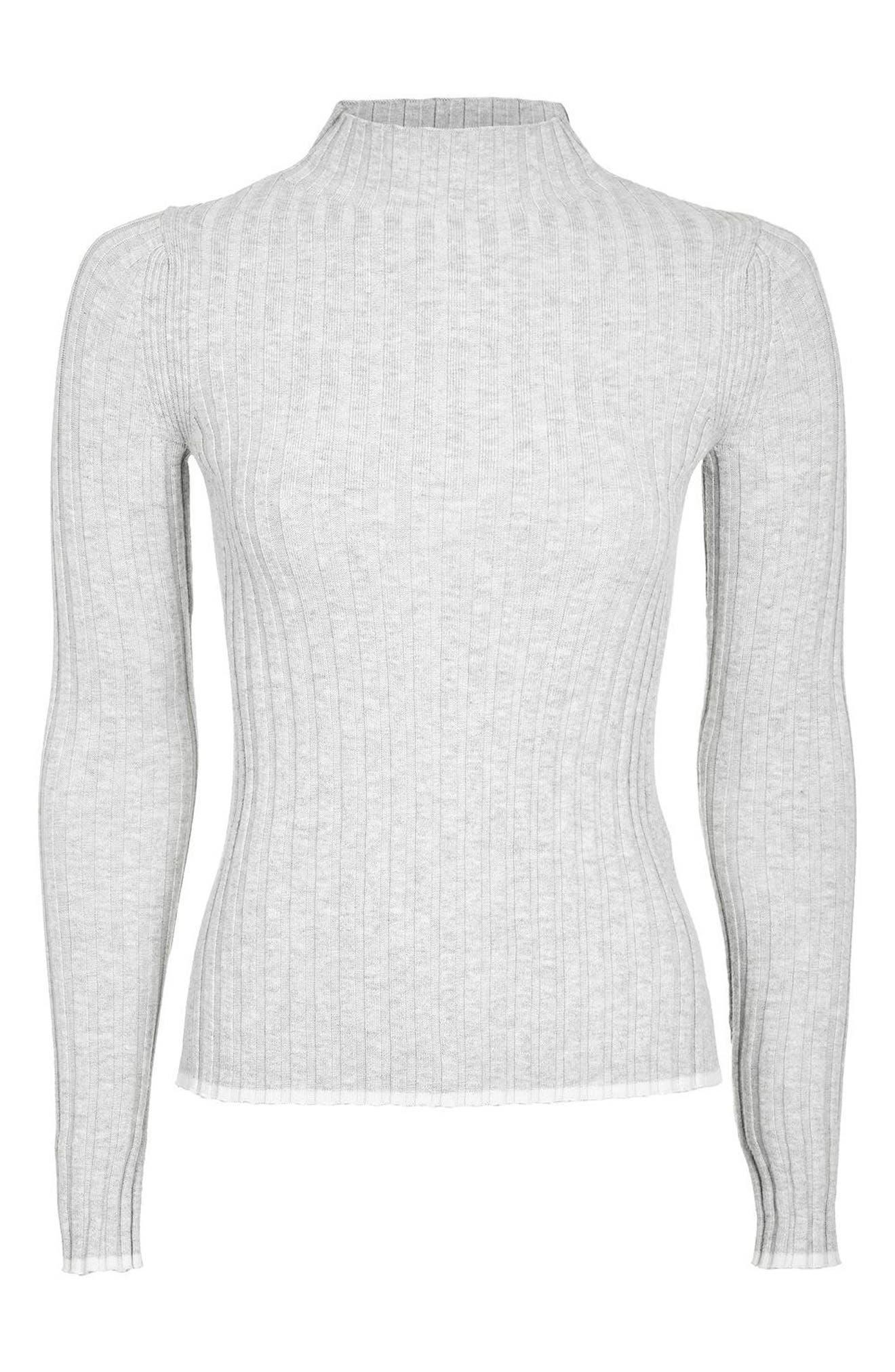 Alternate Image 4  - Topshop Ribbed Funnel Neck Sweater