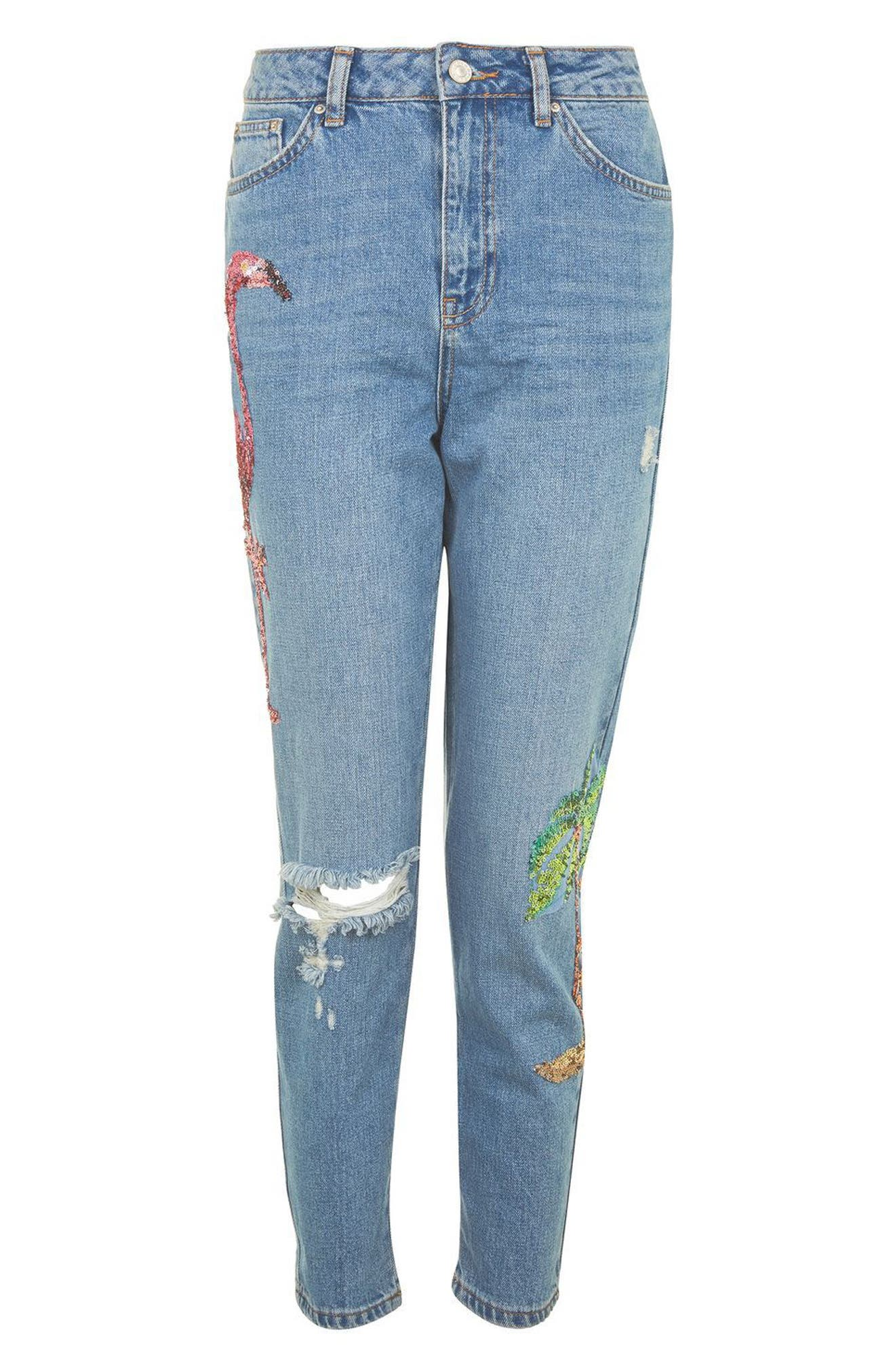 Alternate Image 4  - Topshop Distressed Sequin Mom Jeans