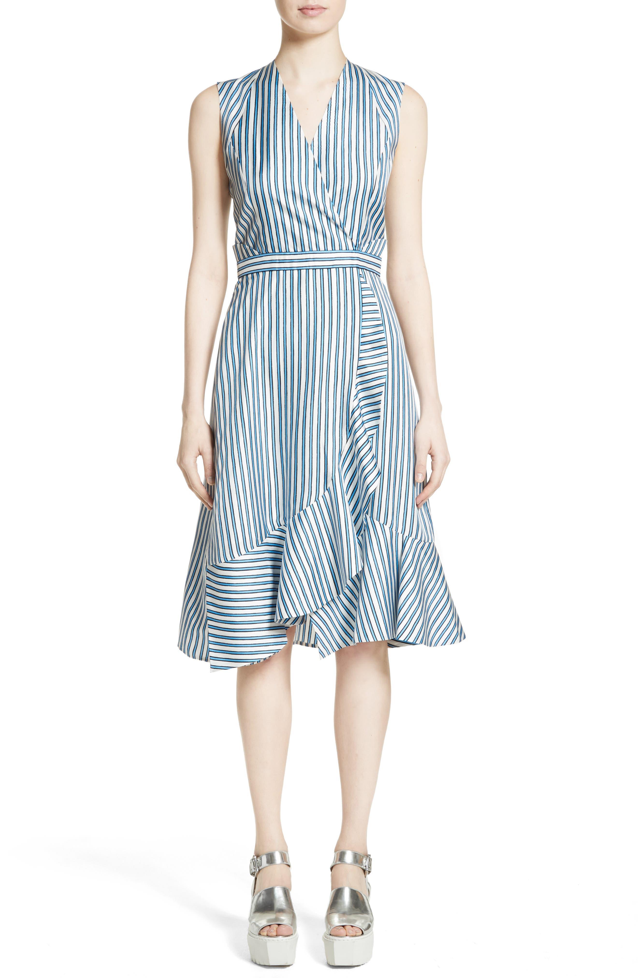 CARVEN Stripe Silk Dress