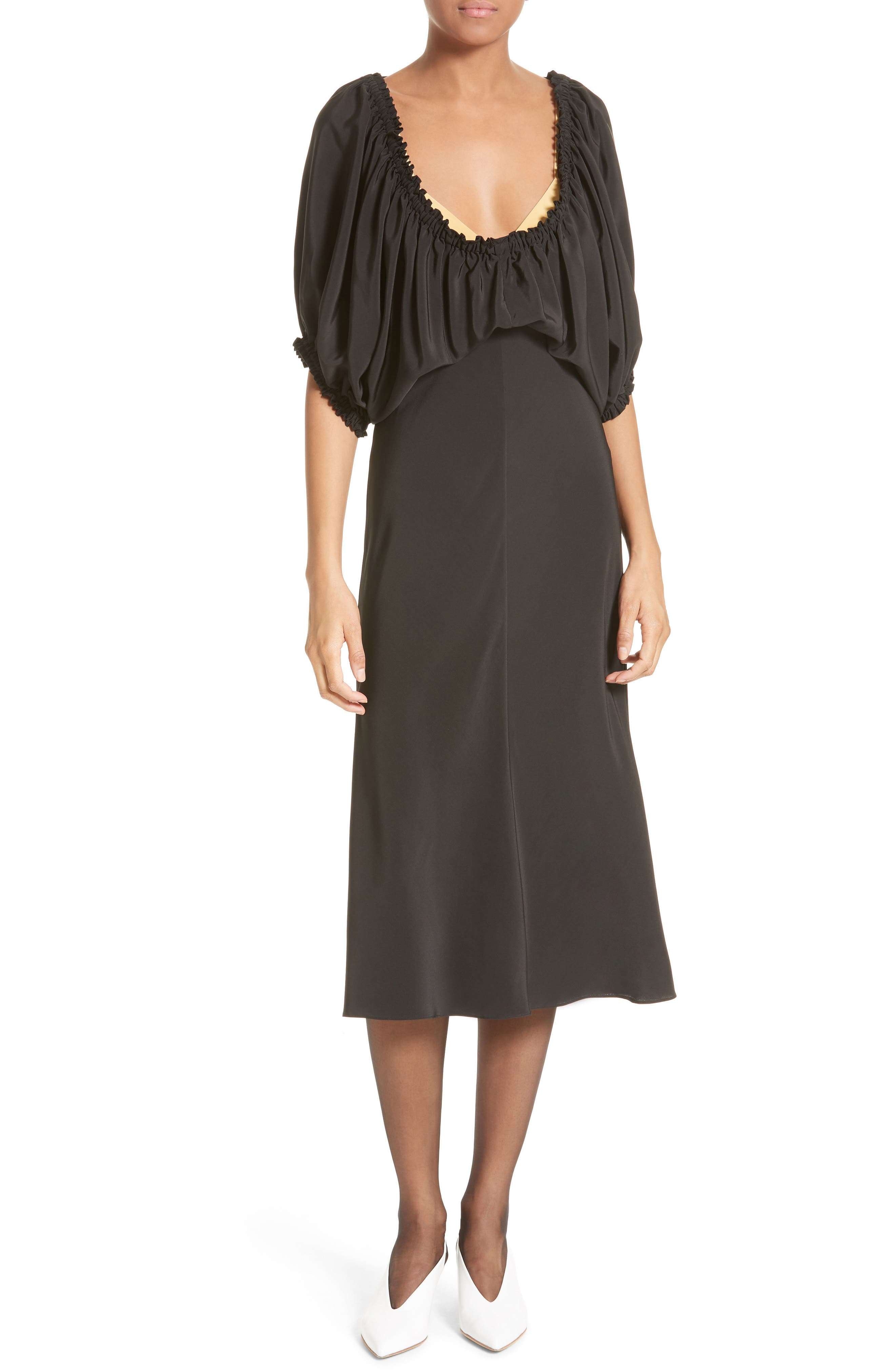 Tibi Sophia Drape Bodice Silk Crepe Dress