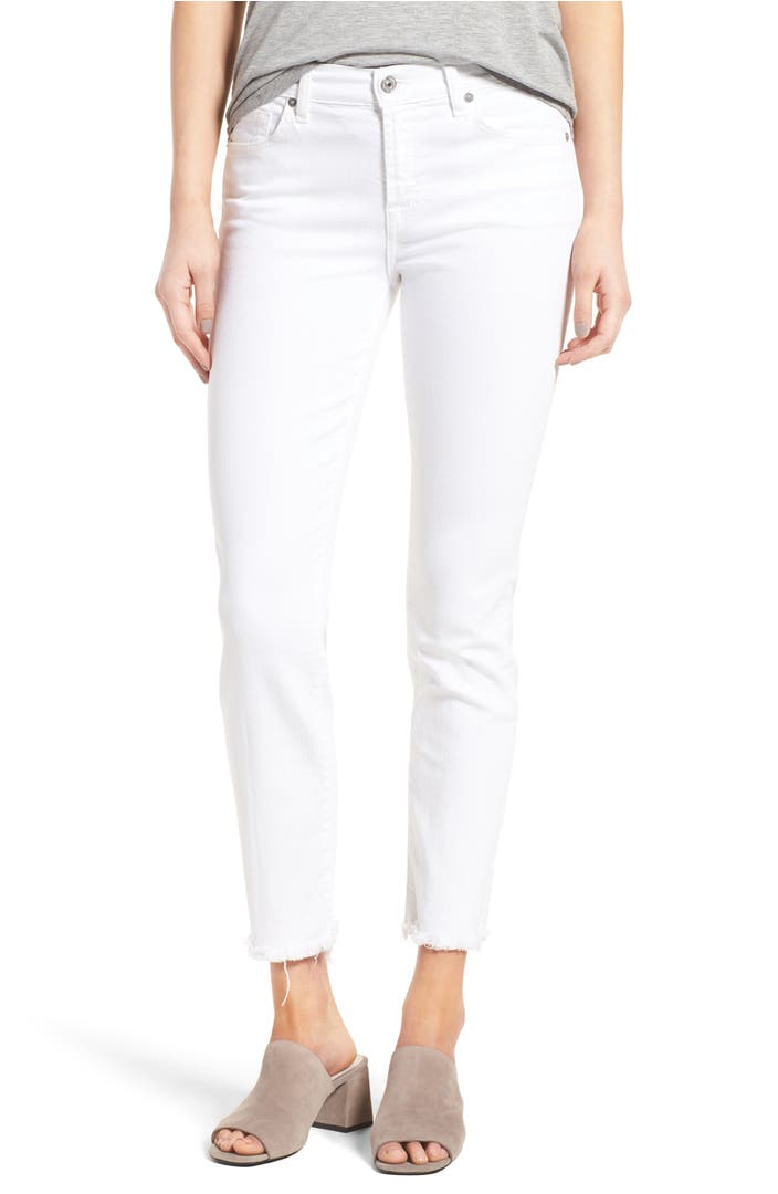 7 for all mankind roxanne ankle straight leg jeans white. Black Bedroom Furniture Sets. Home Design Ideas