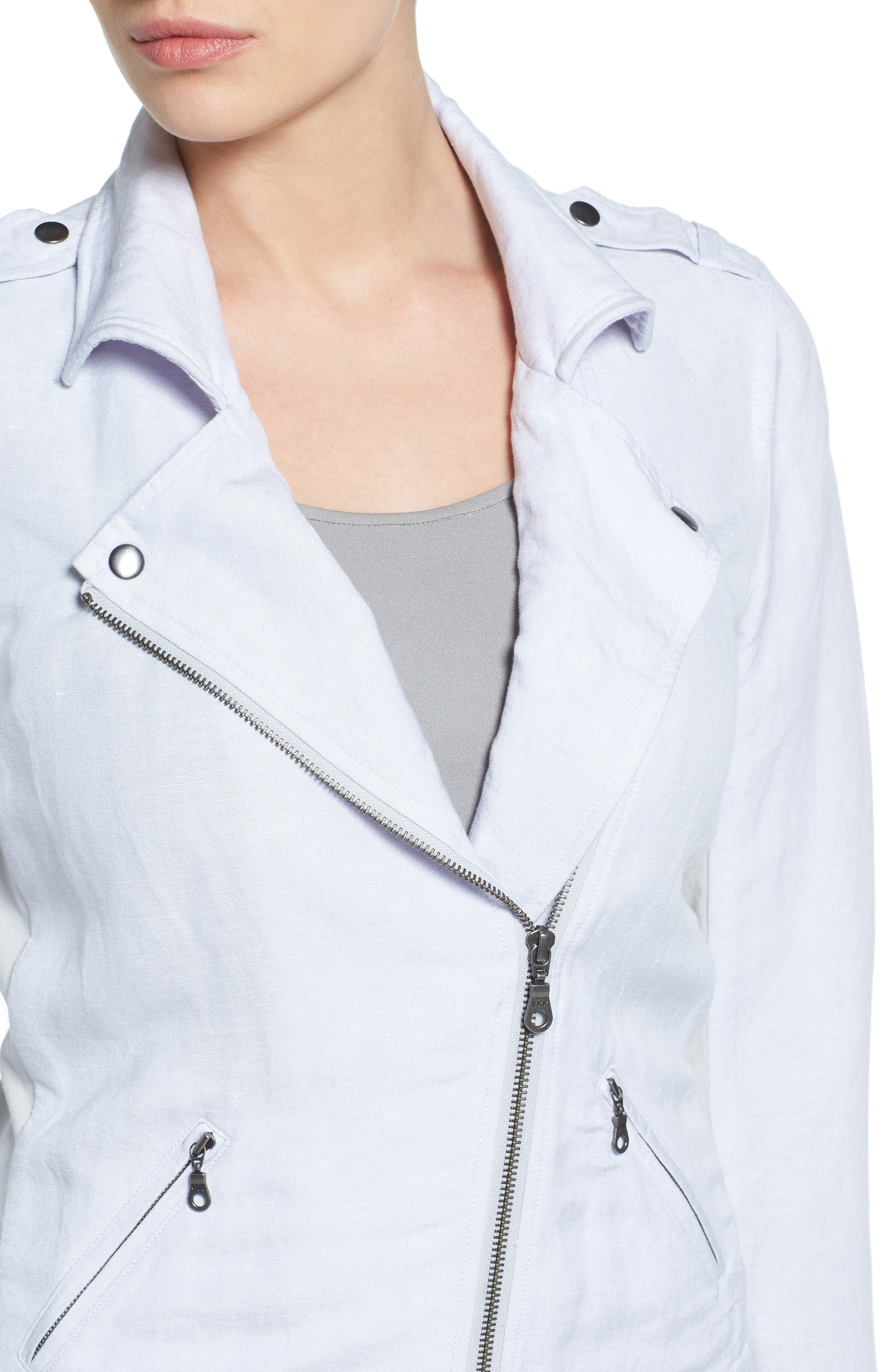 Alternate Image 4  - NIC+ZOE Linen Blend Biker Jacket (Regular & Petite)