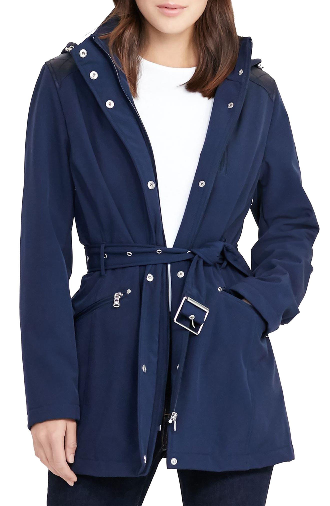 Alternate Image 1 Selected - Lauren Ralph Lauren Belted Hooded Soft Shell Jacket