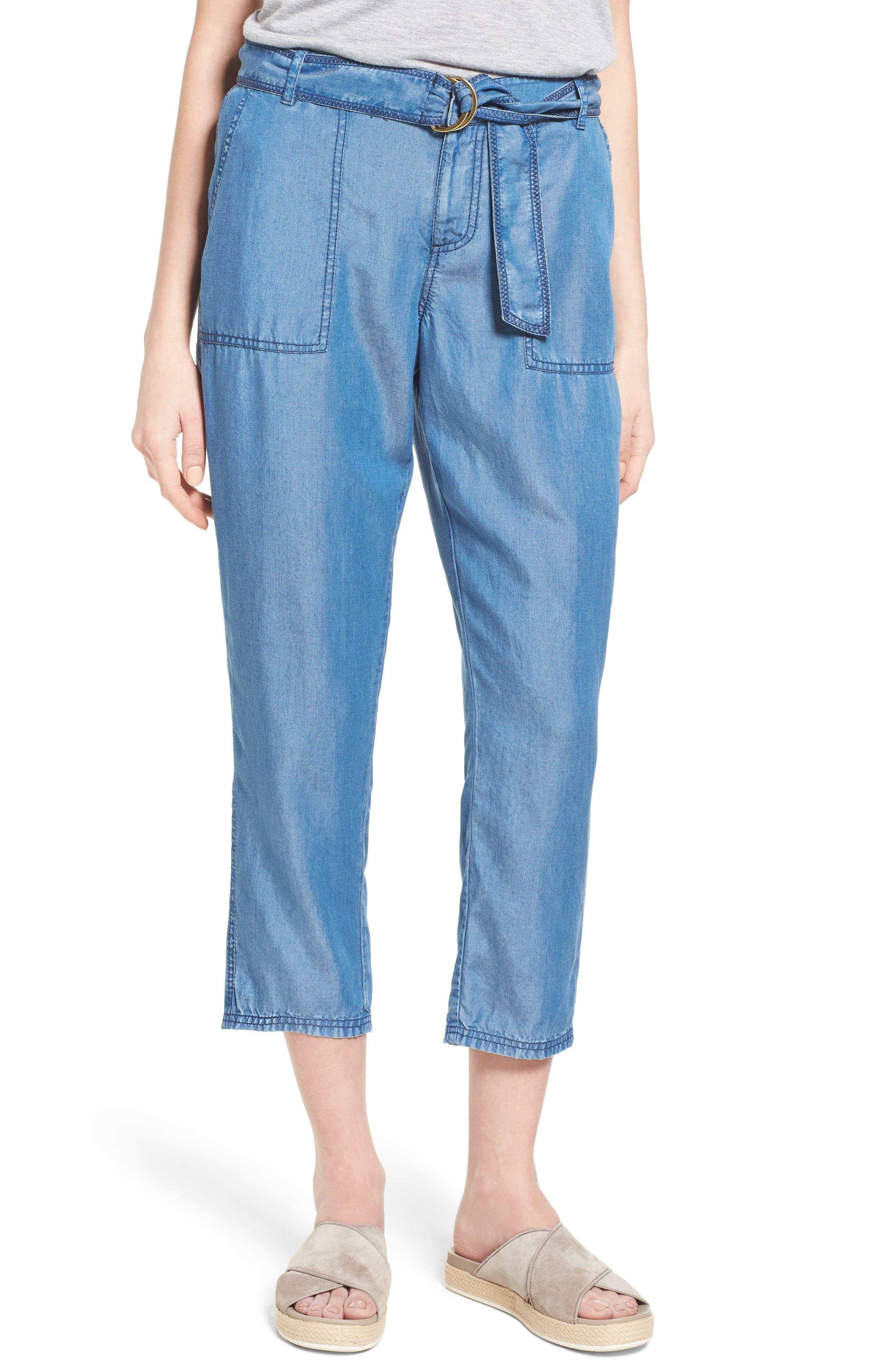 Caslon® Belted Chambray Crop Pants (Regular & Petite)