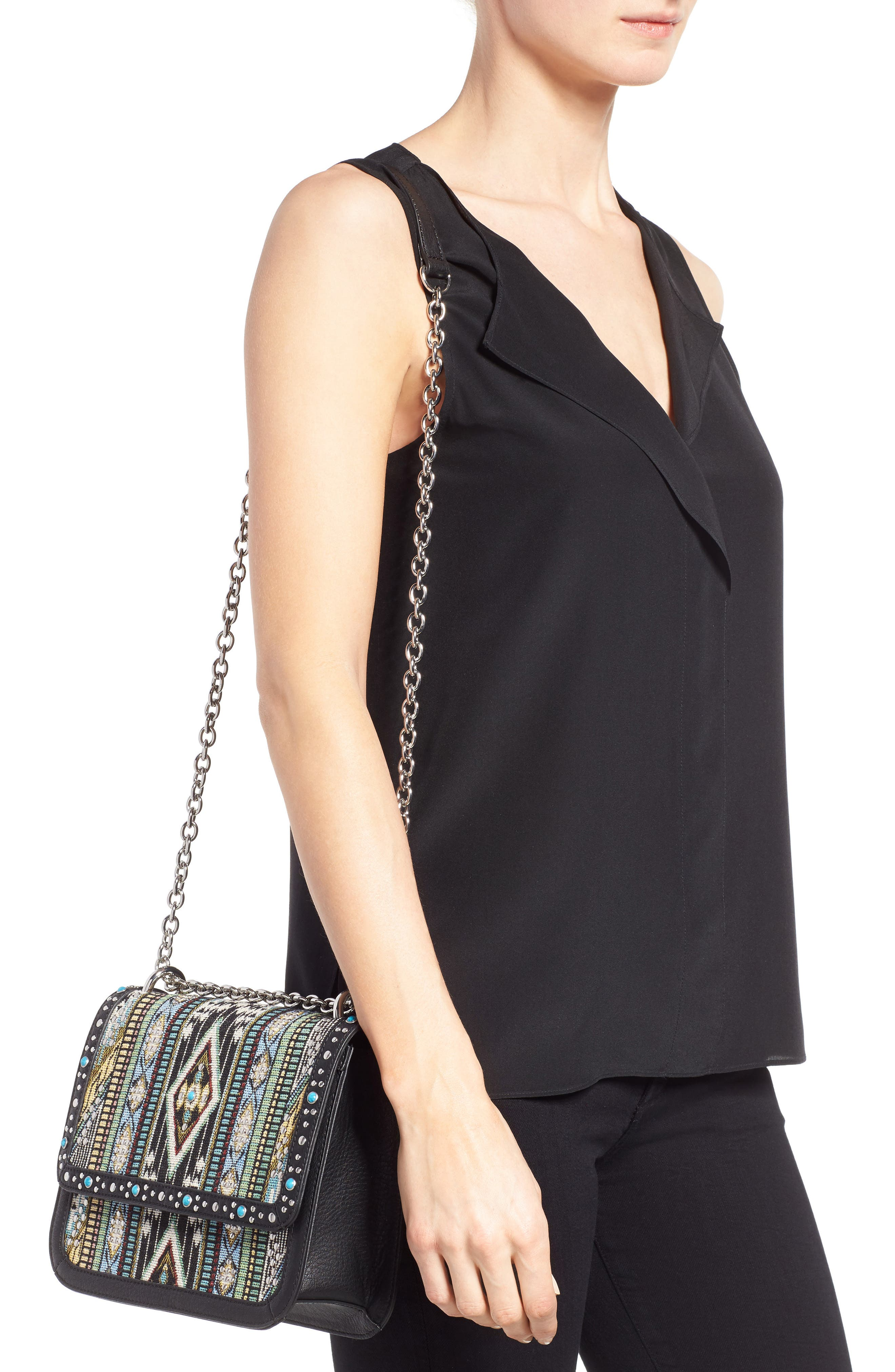 Alternate Image 2  - Chelsea28 Dahlia Embroidered Faux Leather Crossbody Bag