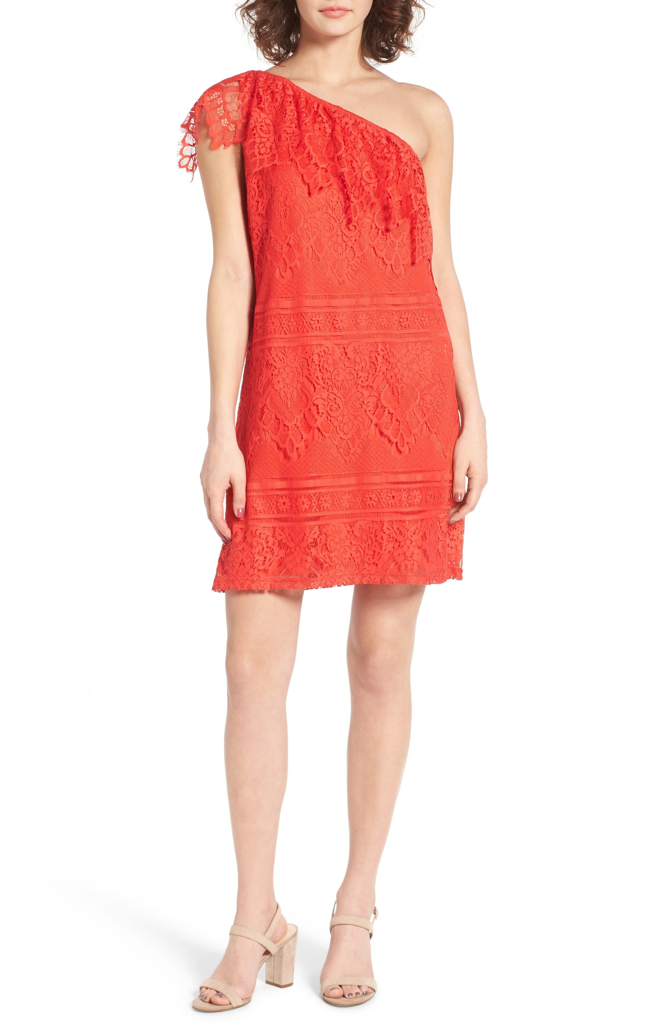 Love, Fire Lace One-Shoulder Dress