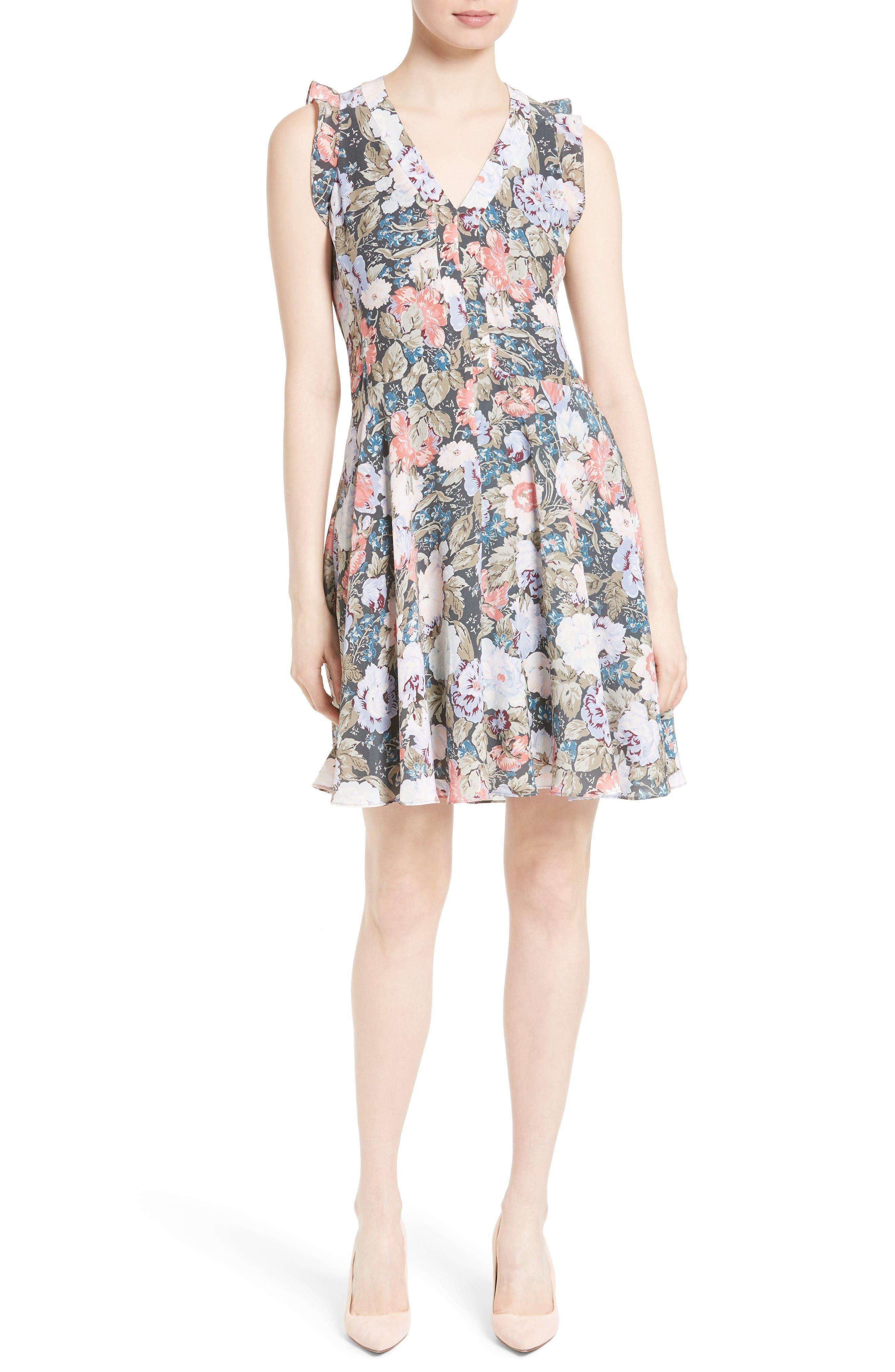 Rebecca Taylor Penelope Floral Fit & Flare Silk Dress