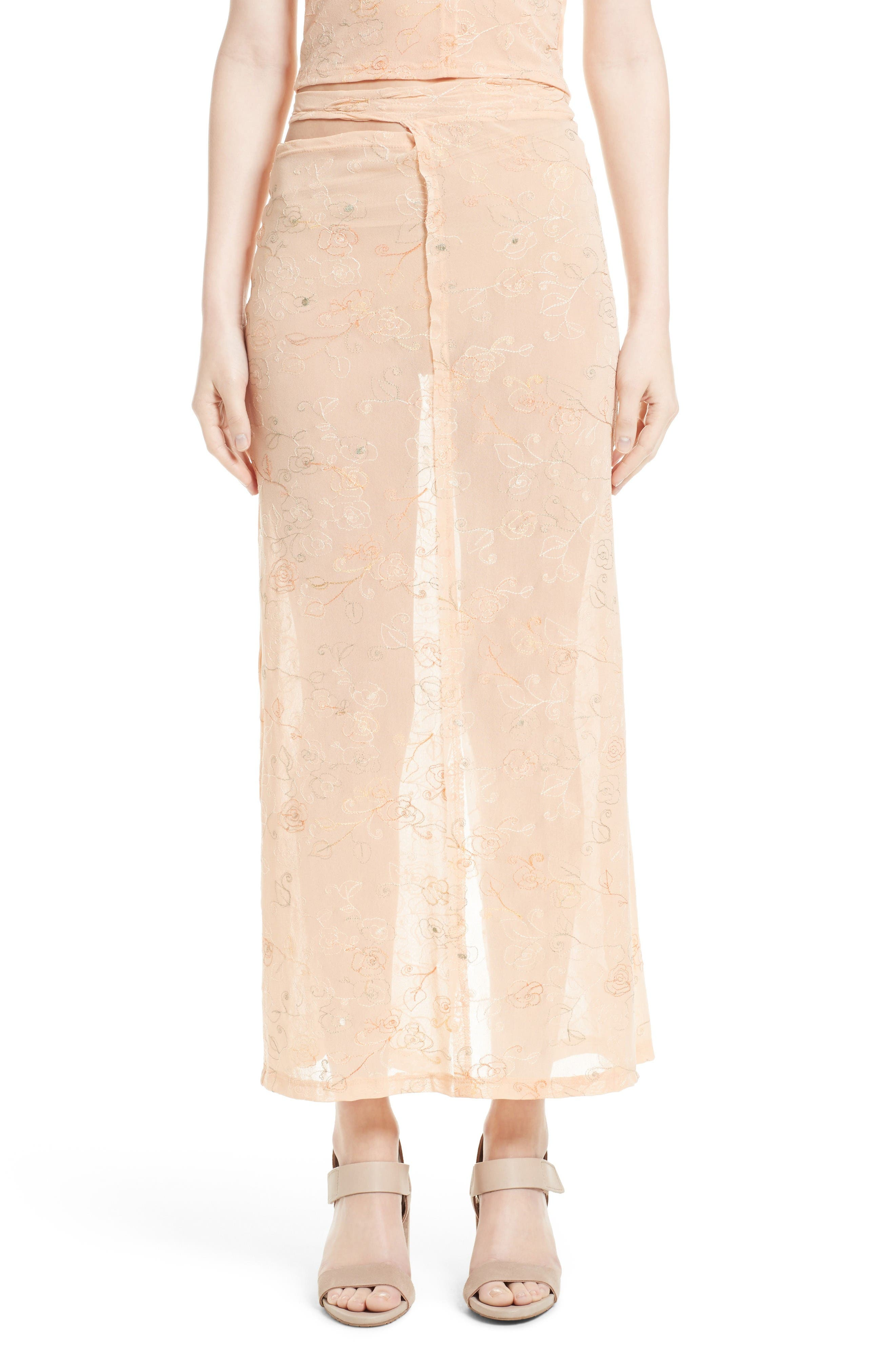 ECKHAUS LATTA Embroidered Midi Skirt