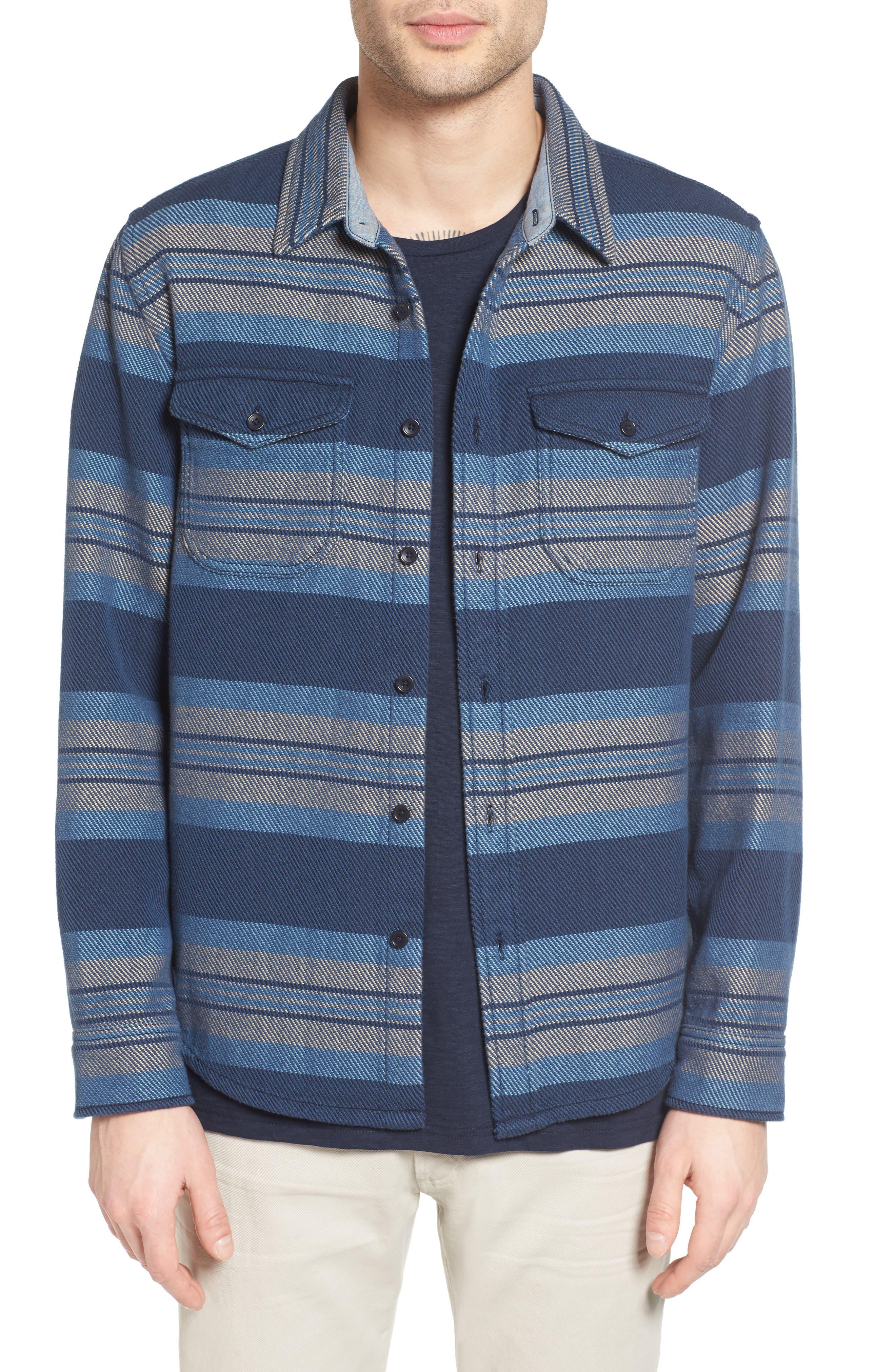 Outerknown Plaid Flannel Trim Fit Sport Shirt