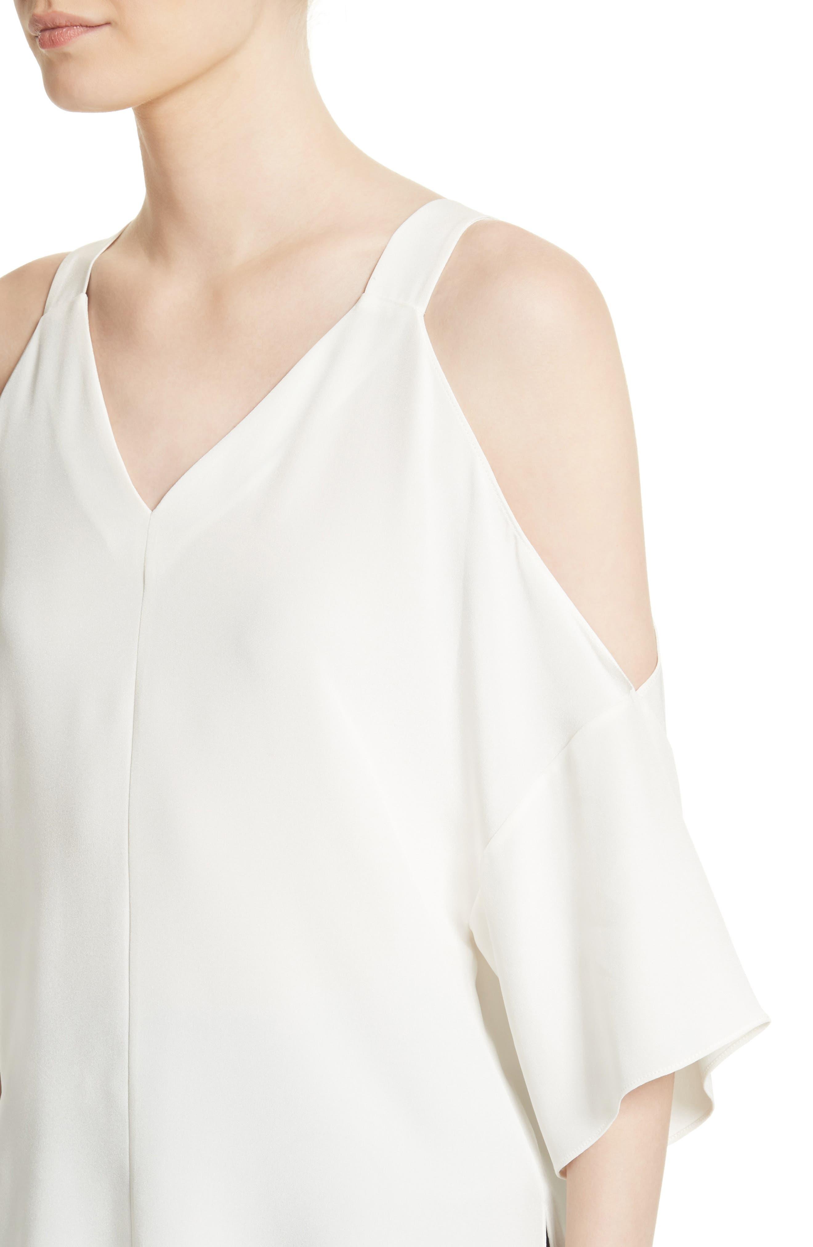 Alternate Image 4  - Tibi Cold Shoulder Silk Blouse