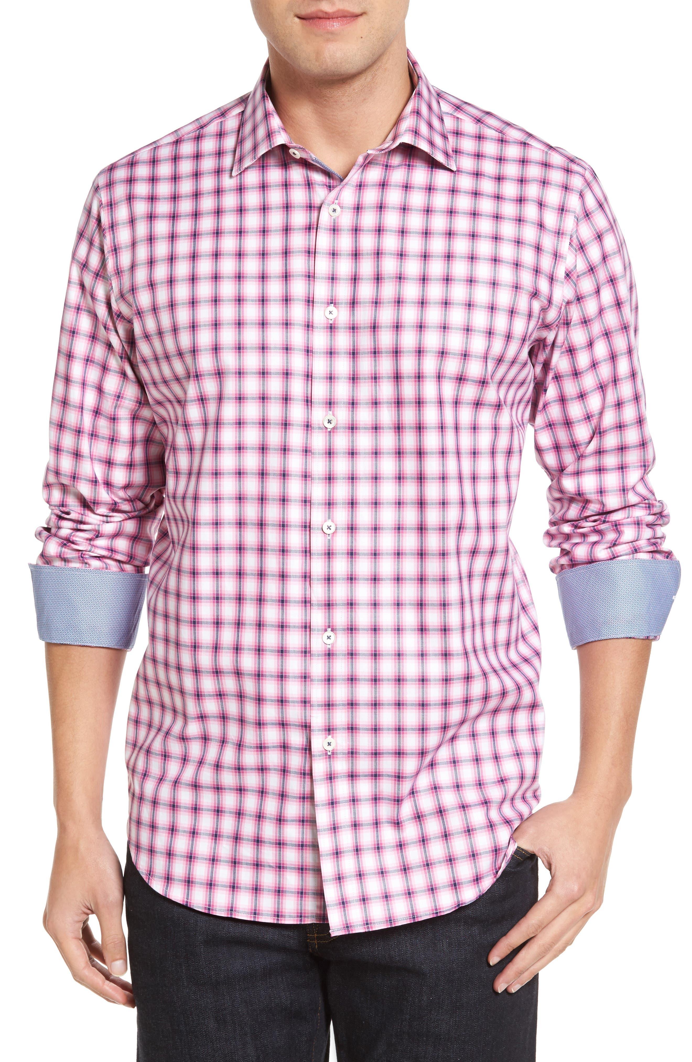 BUGATCHI Classic Fit Herringbone Check Sport Shirt