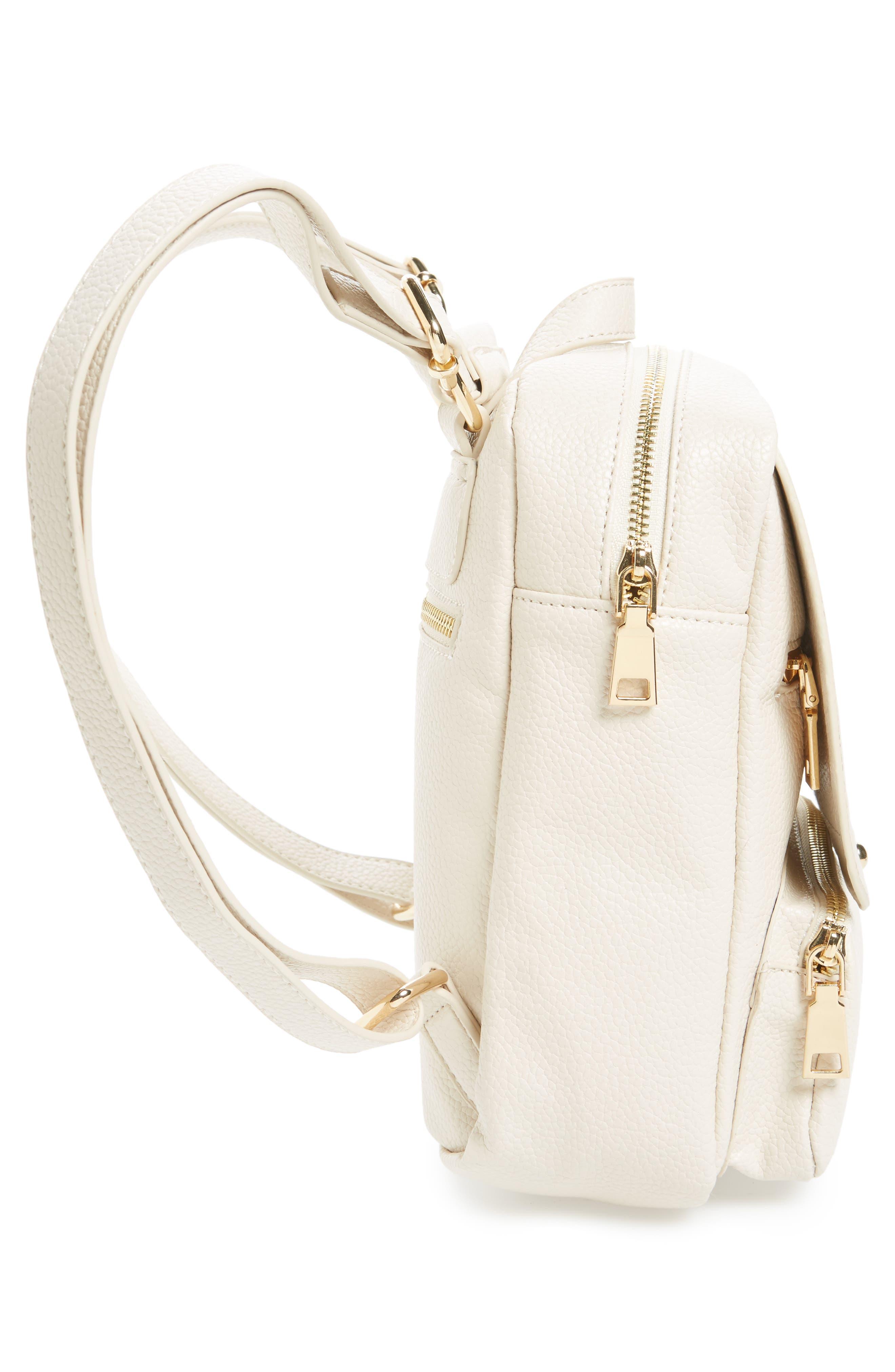 Alternate Image 5  - Girly Faux Leather Flap Mini Backpack