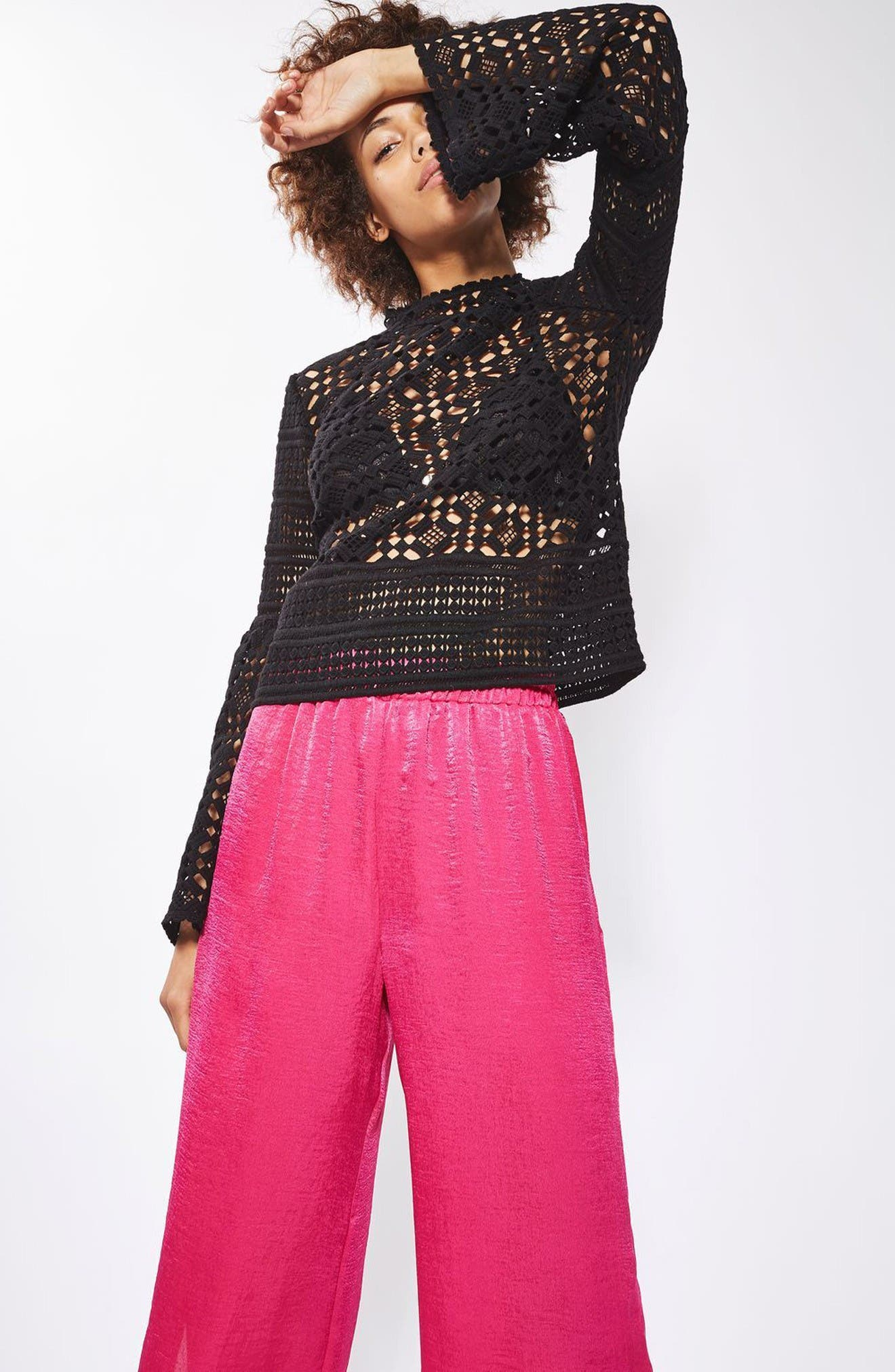 Alternate Image 2  - Topshop Lace Trumpet Top