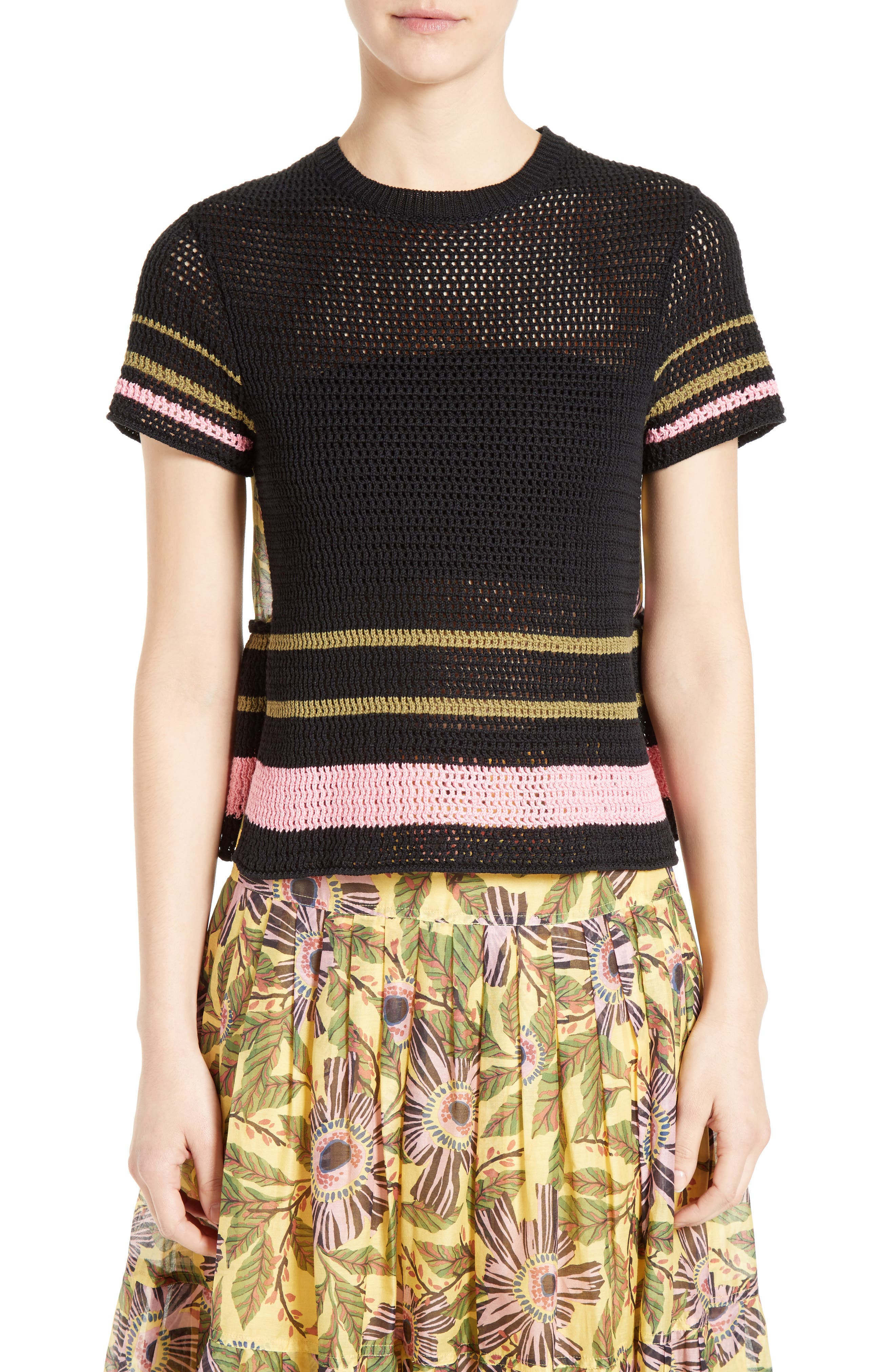 RED VALENTINO Floral Print Back Crochet Sweater