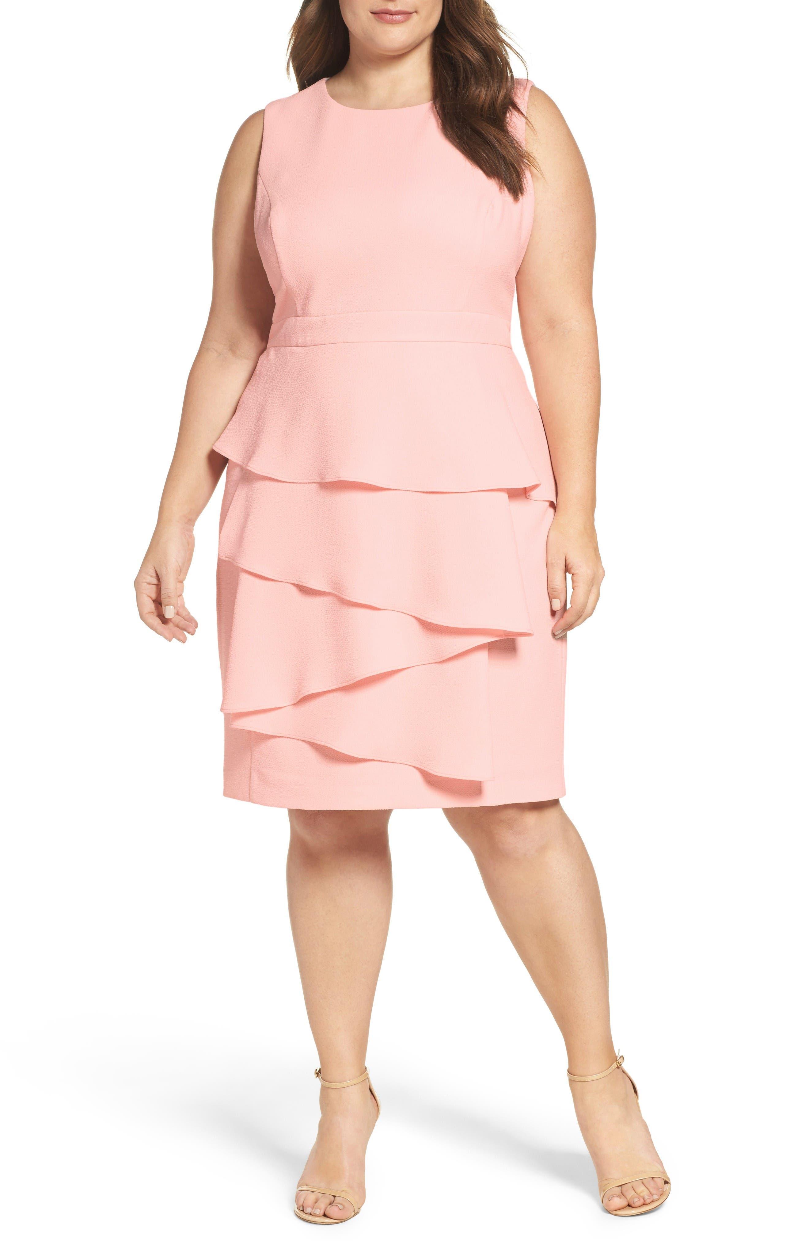 ELIZA J Ella Cascade Crepe Sheath Dress