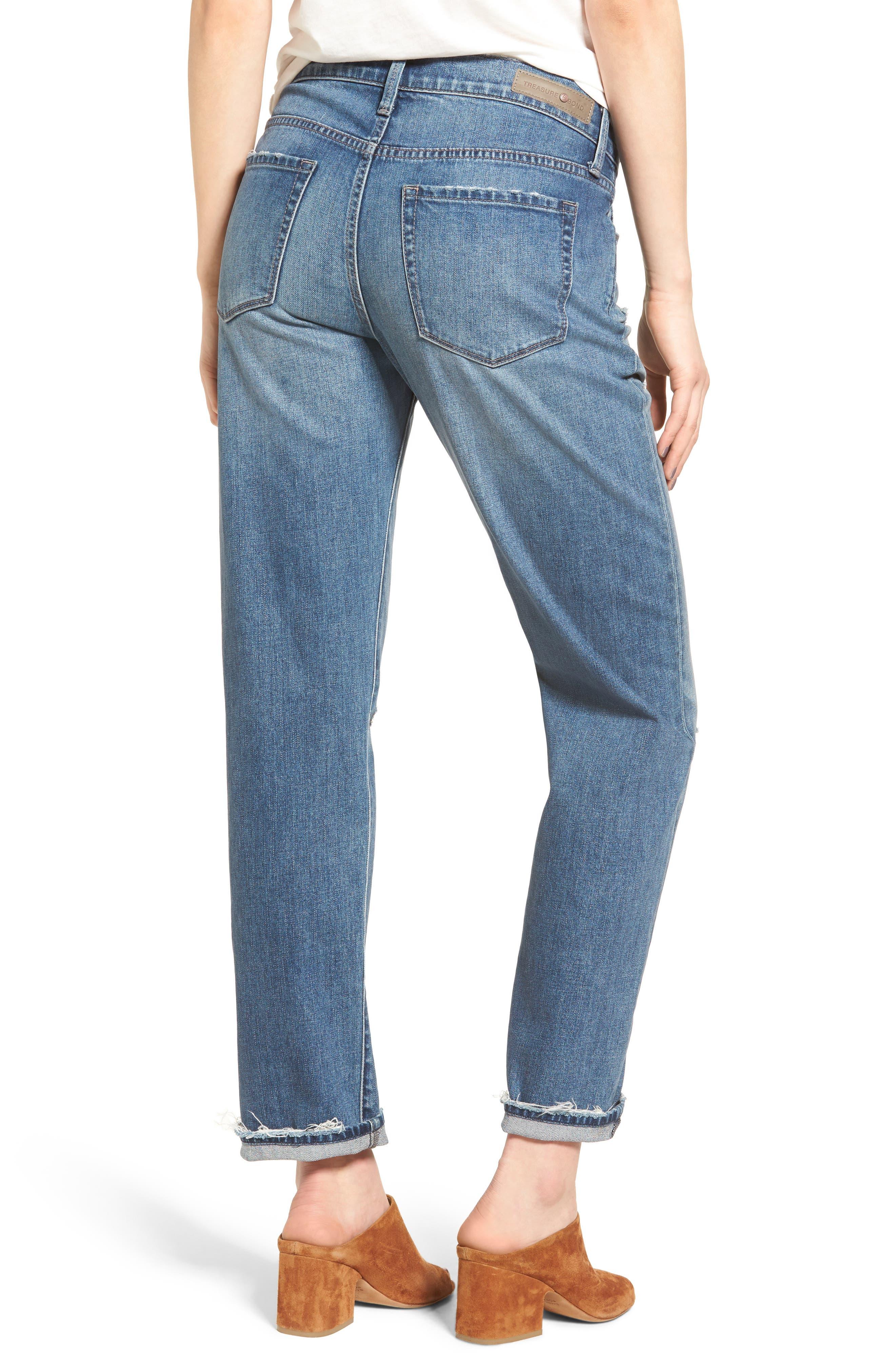 Alternate Image 2  - Treasure & Bond Relaxed Jeans (Gravel Dusk Destroyed)