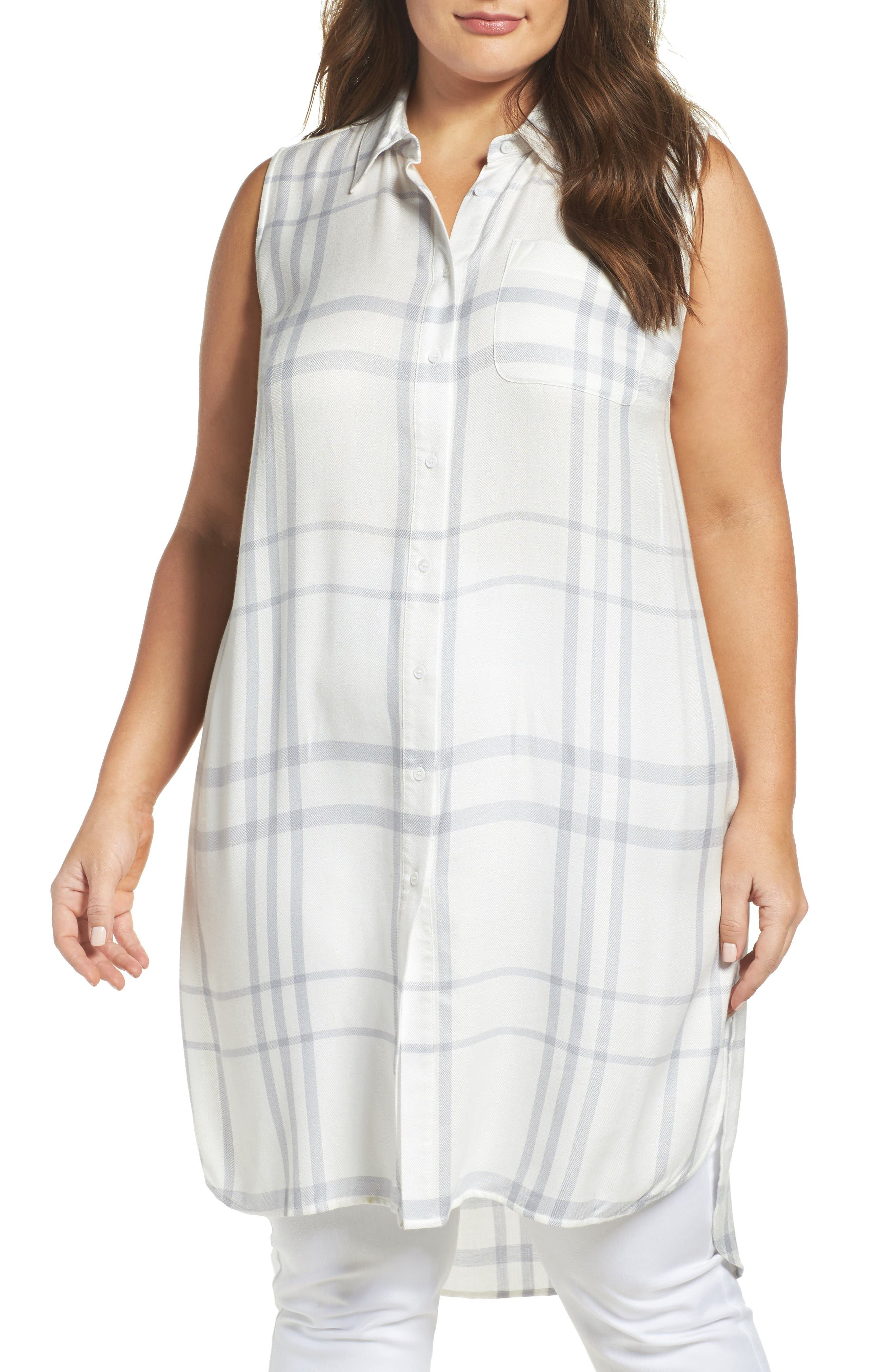Two by Vince Camuto Tranquil Plaid Tunic Shirt (Plus Size)