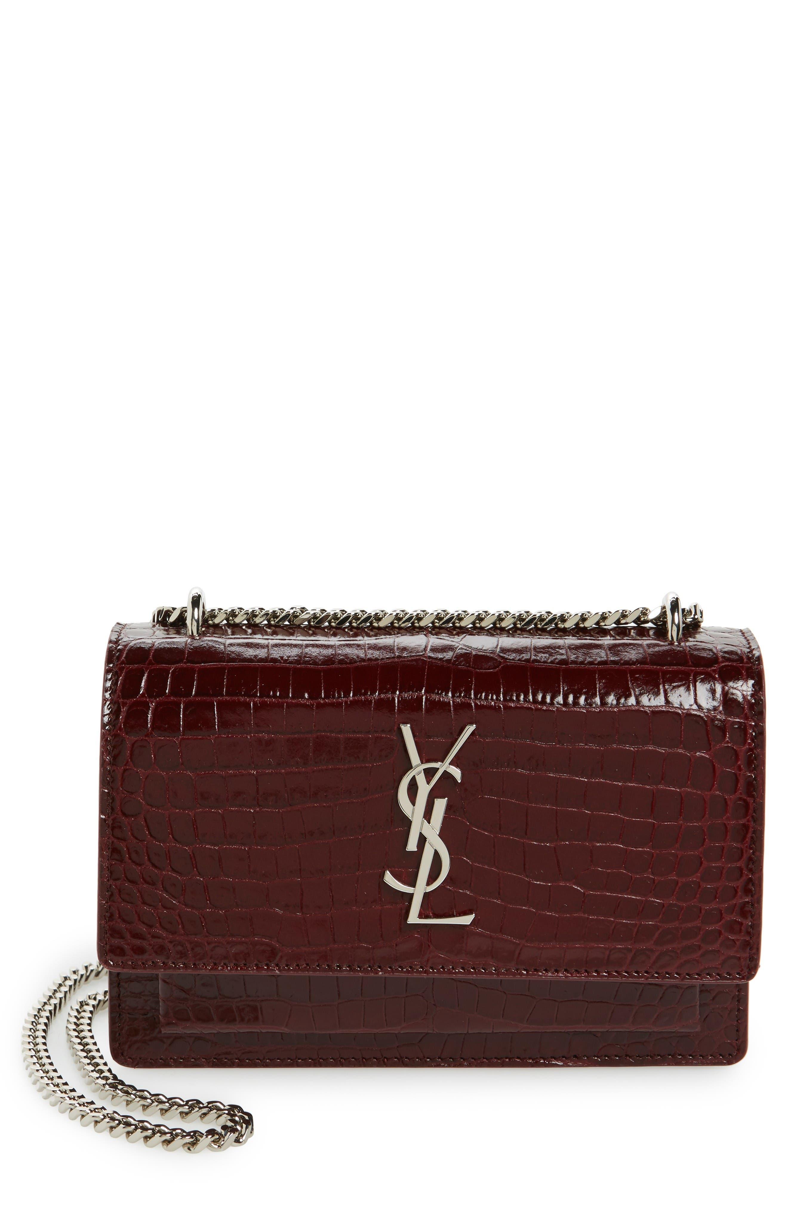Alternate Image 1 Selected - Saint Laurent Mini Monogram Sunset Croc Embossed Leather Shoulder Bag
