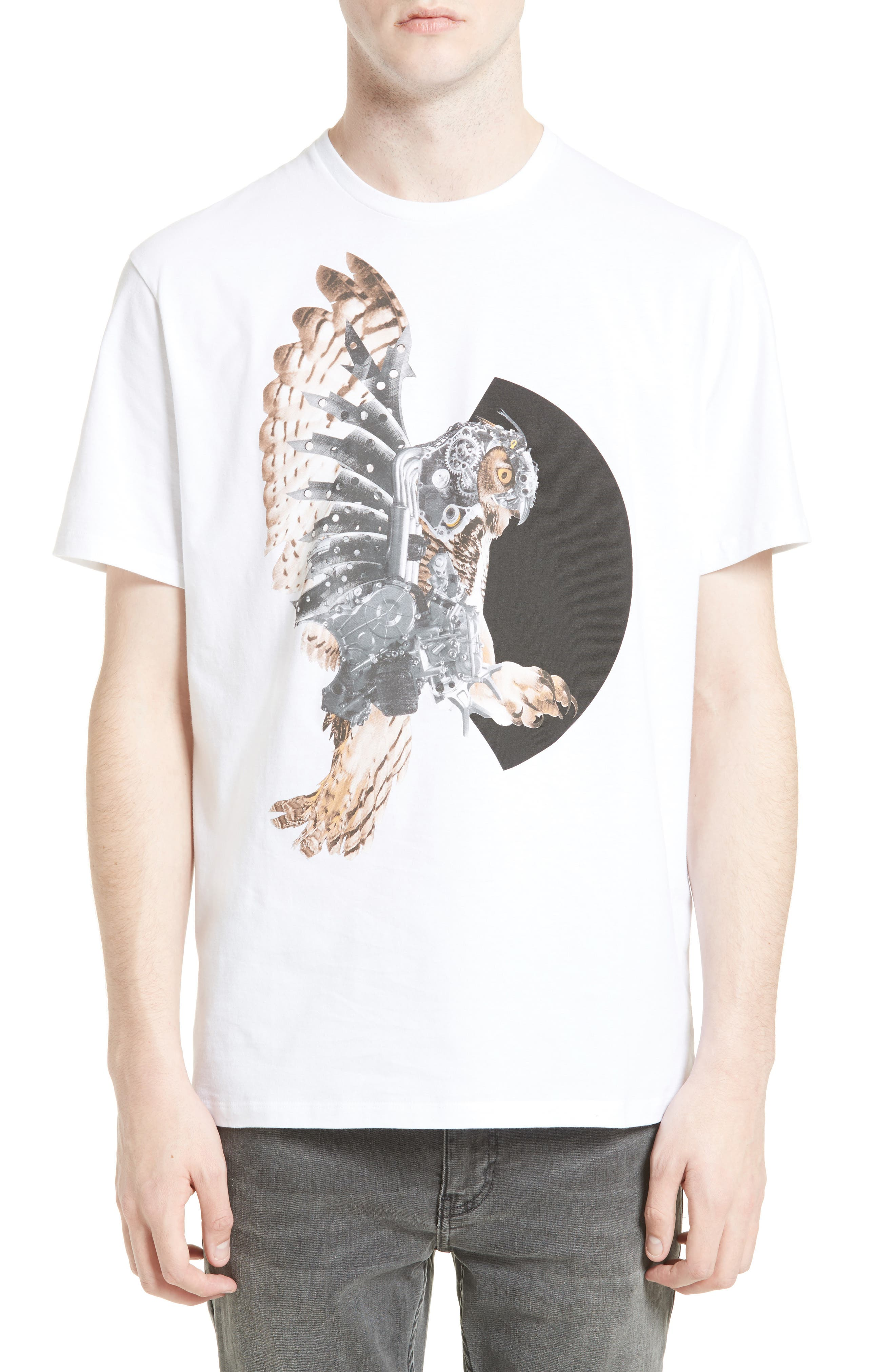 NEIL BARRETT Mechanical Owl Graphic T-Shirt