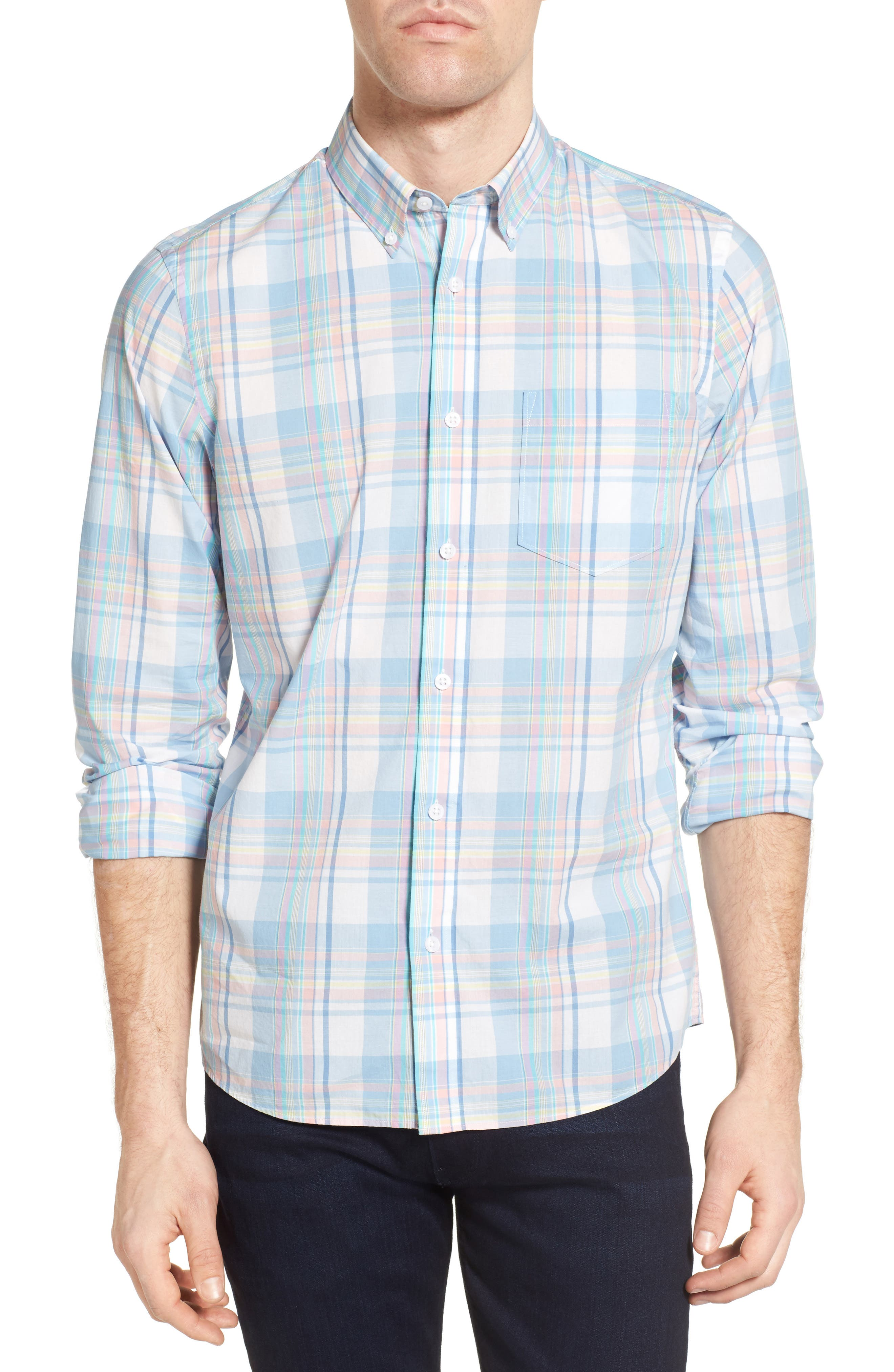 Nordstrom Men's Shop Slim Fit Washed Plaid Sport Shirt (Regular & Tall)