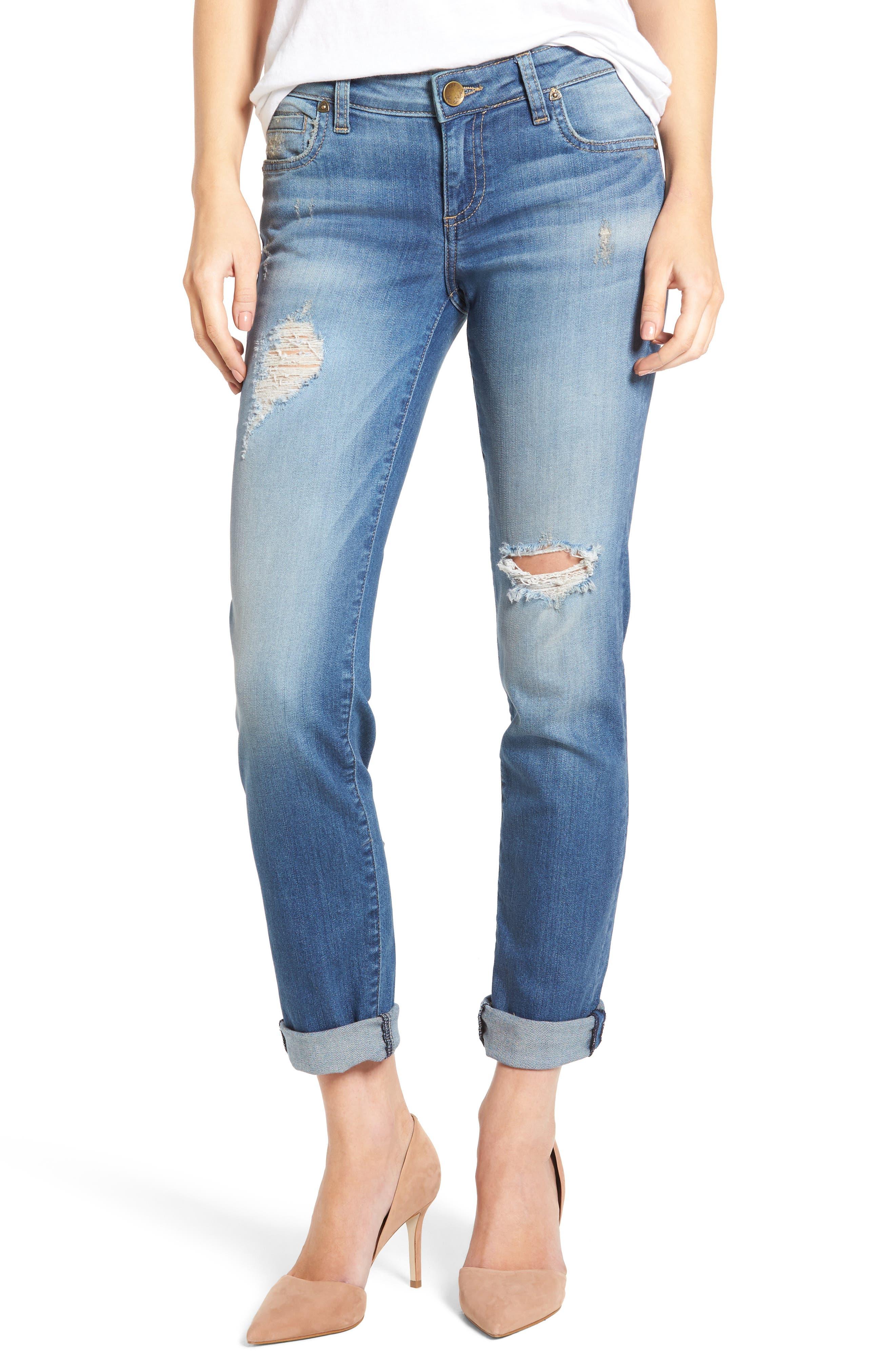 Main Image - KUT from the Kloth Catherine Distressed Boyfriend Jeans (Fiery) (Regular & Petite)
