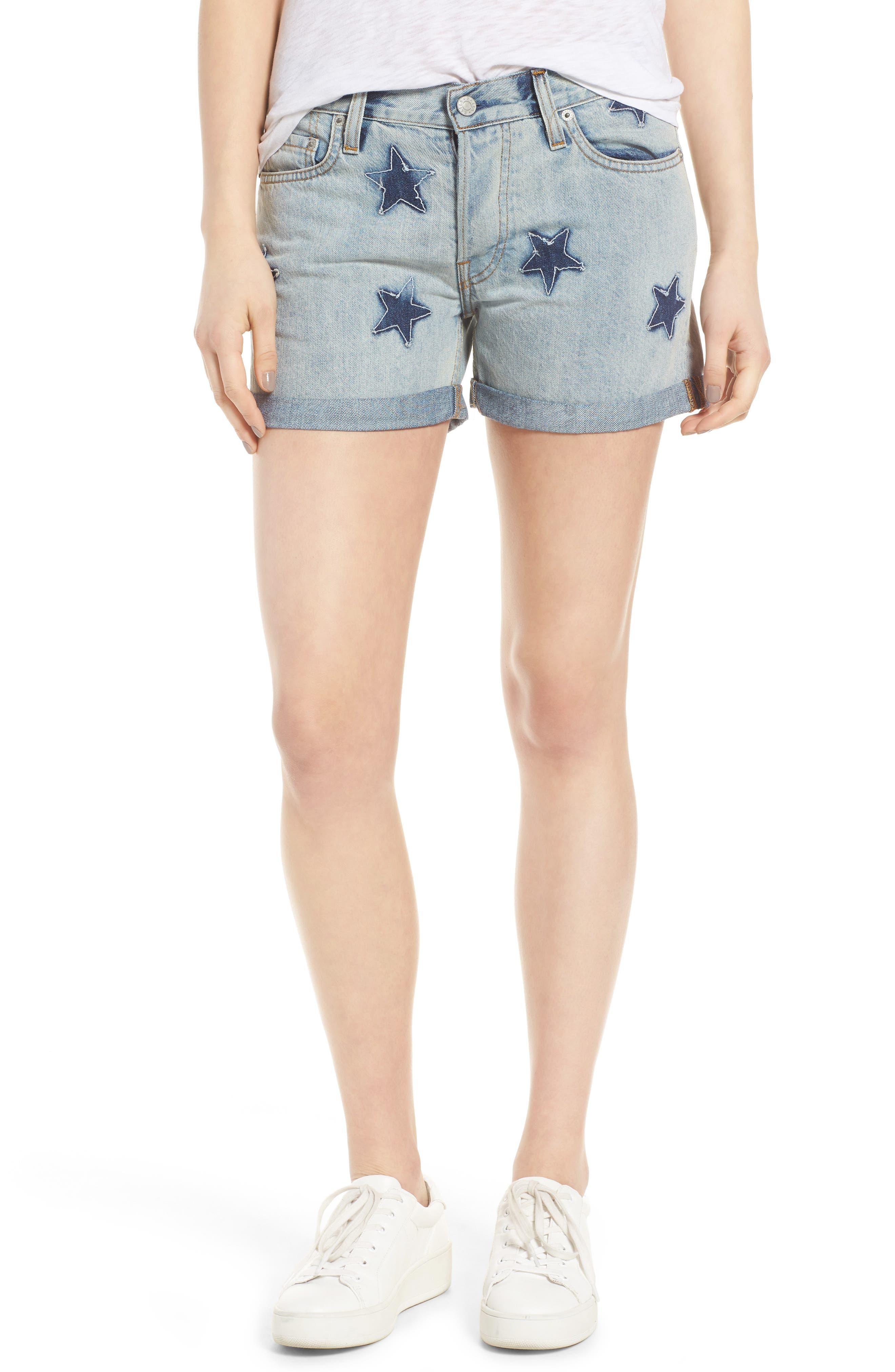 Rails Logan Cuffed Denim Shorts (Medium Wash Stars)