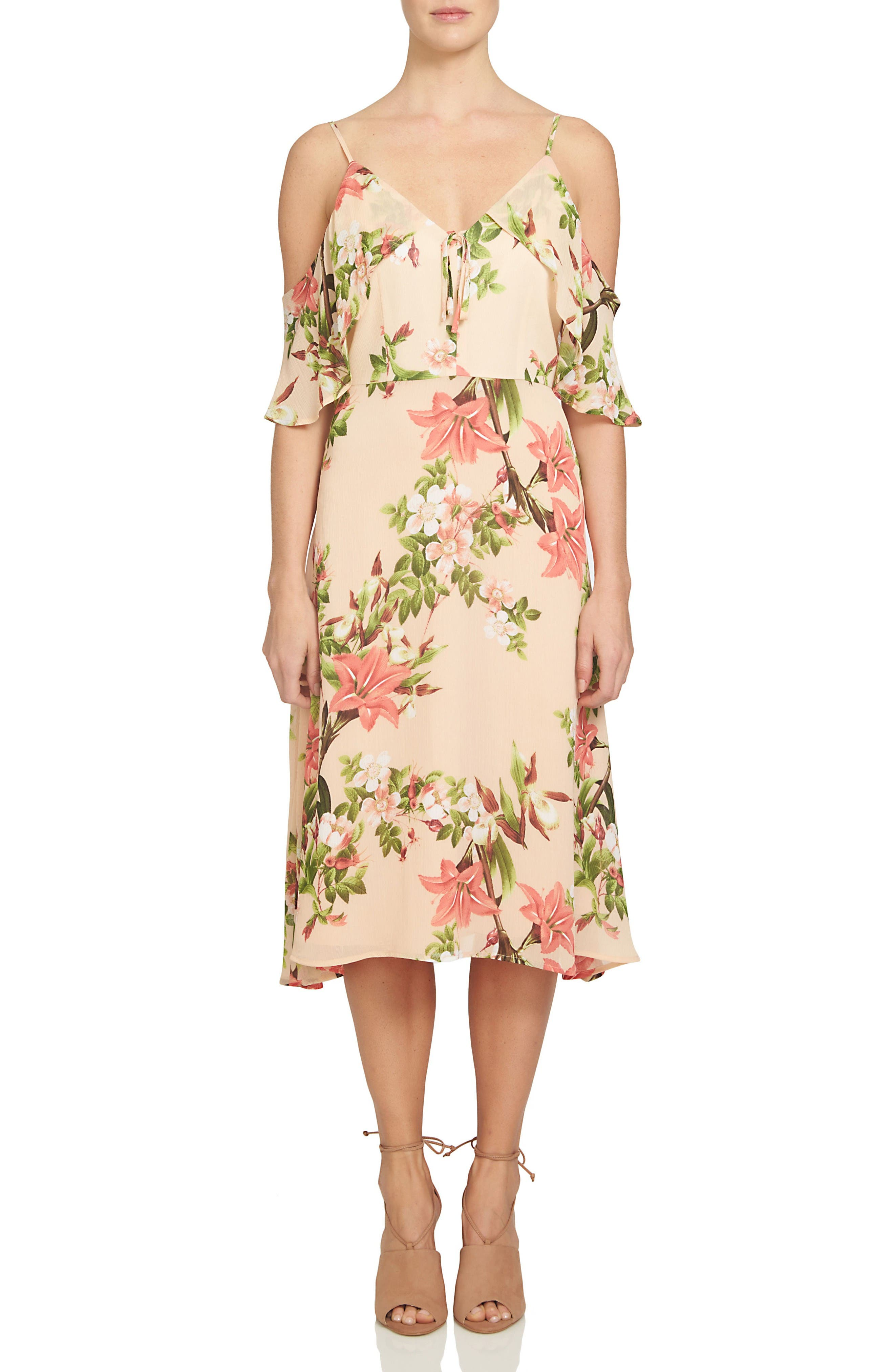 CeCe Alice Cold Shoulder Midi Dress