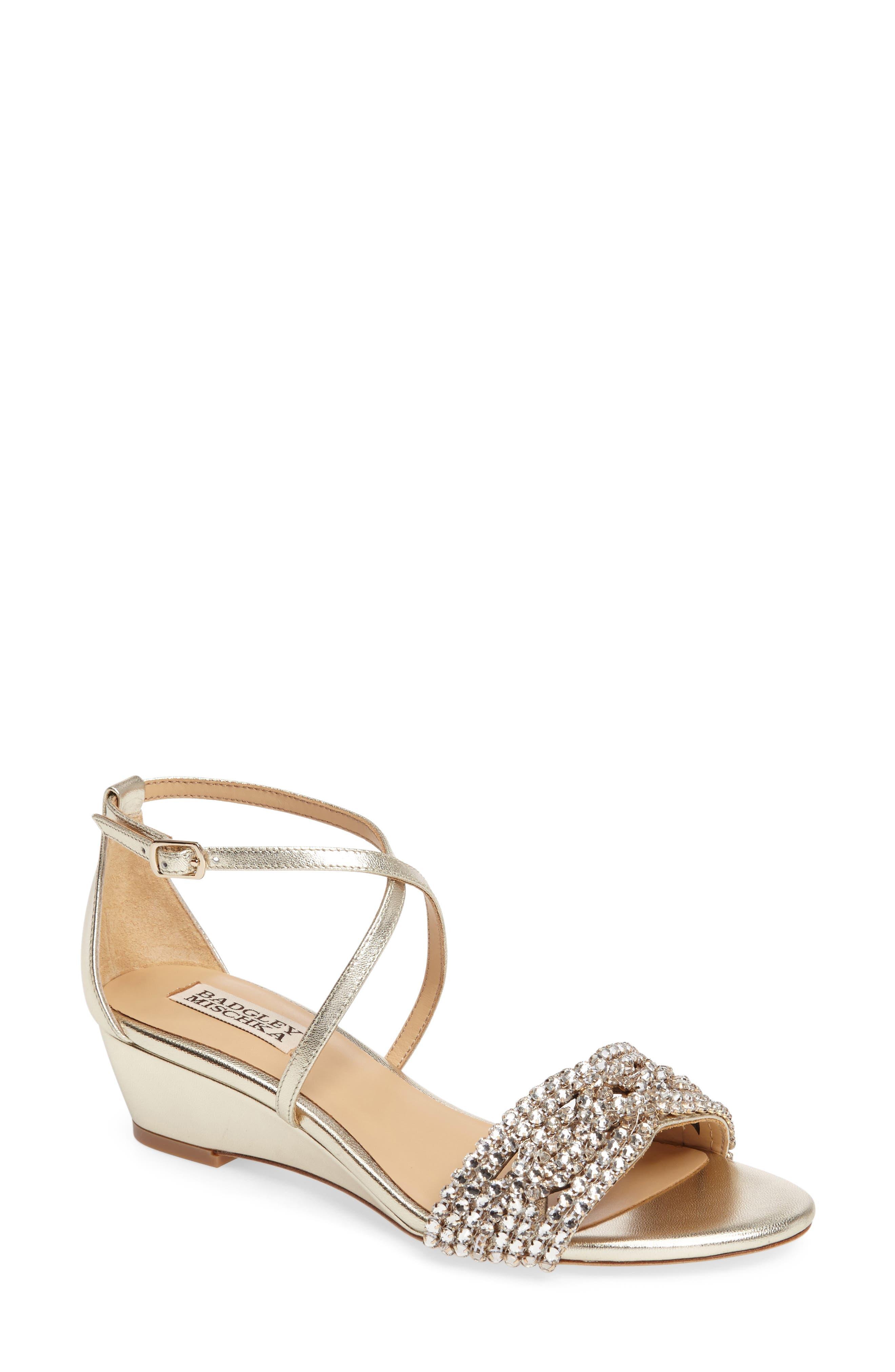 BADGLEY MISCHKA Tressa Embellished Wedge Sandal