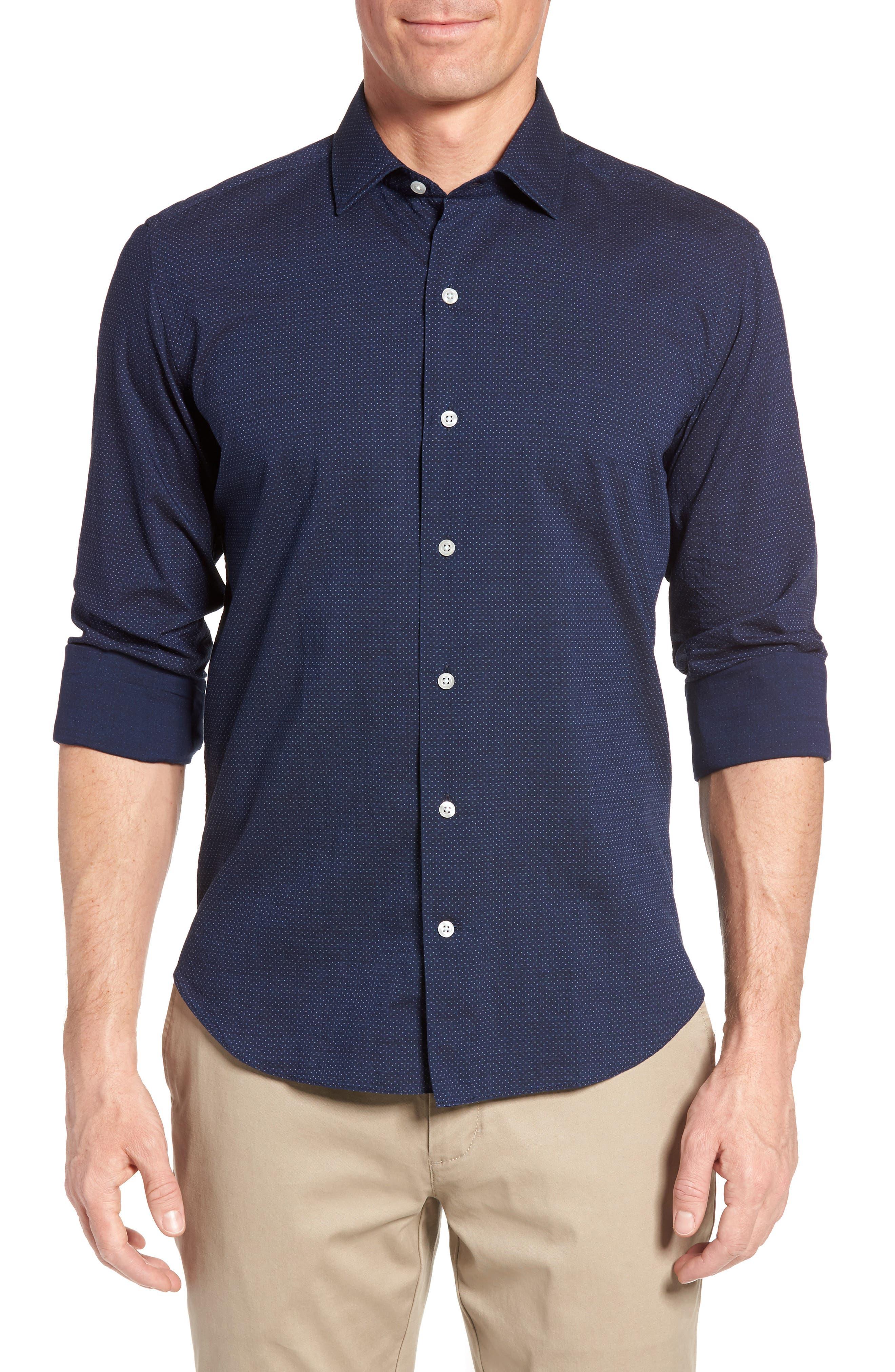 CULTURATA Slim Fit Dot Denim Sport Shirt