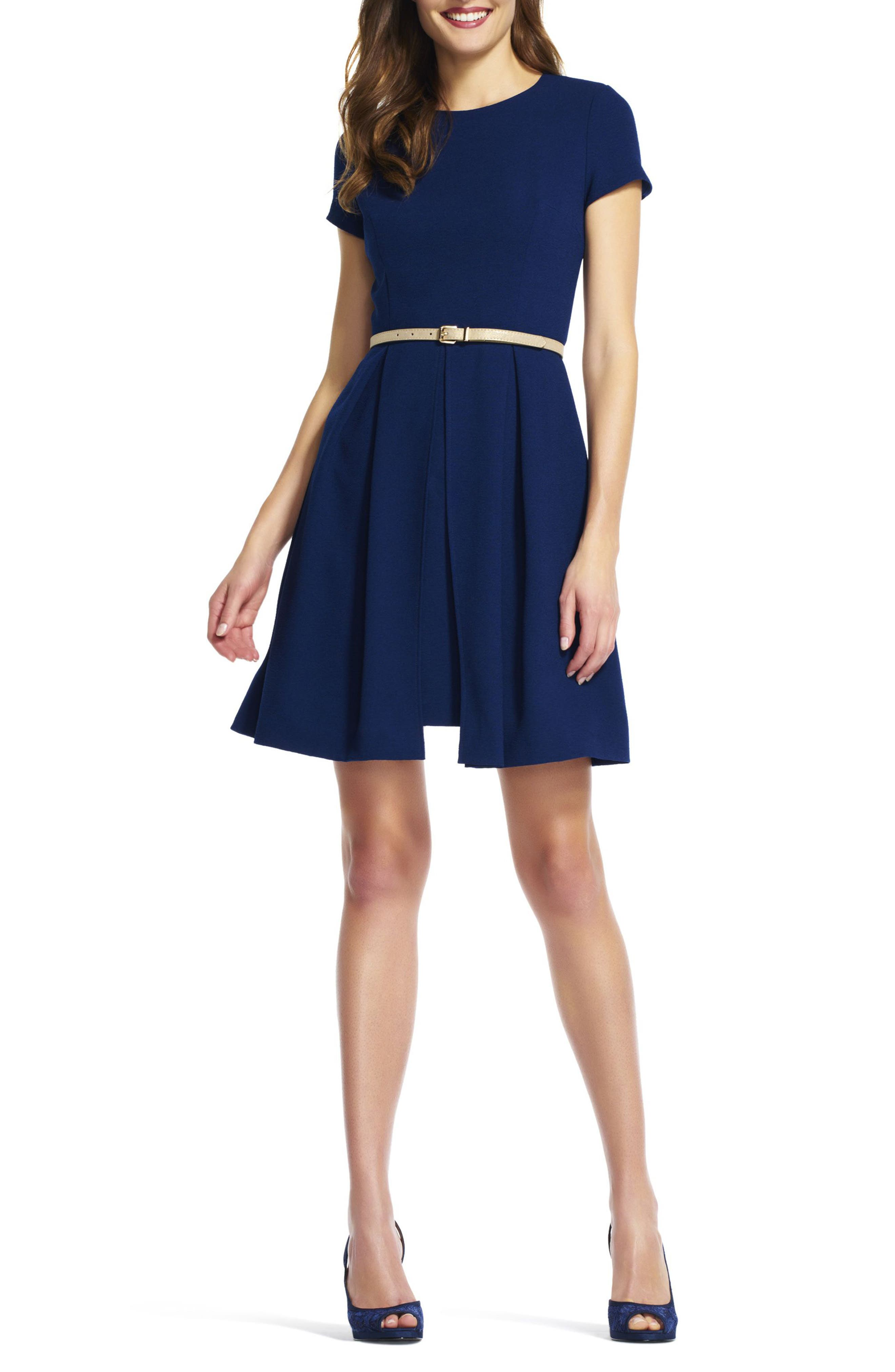 Alternate Image 3  - Adrianna Papell Belted Textured Crepe Fit & Flare Dress