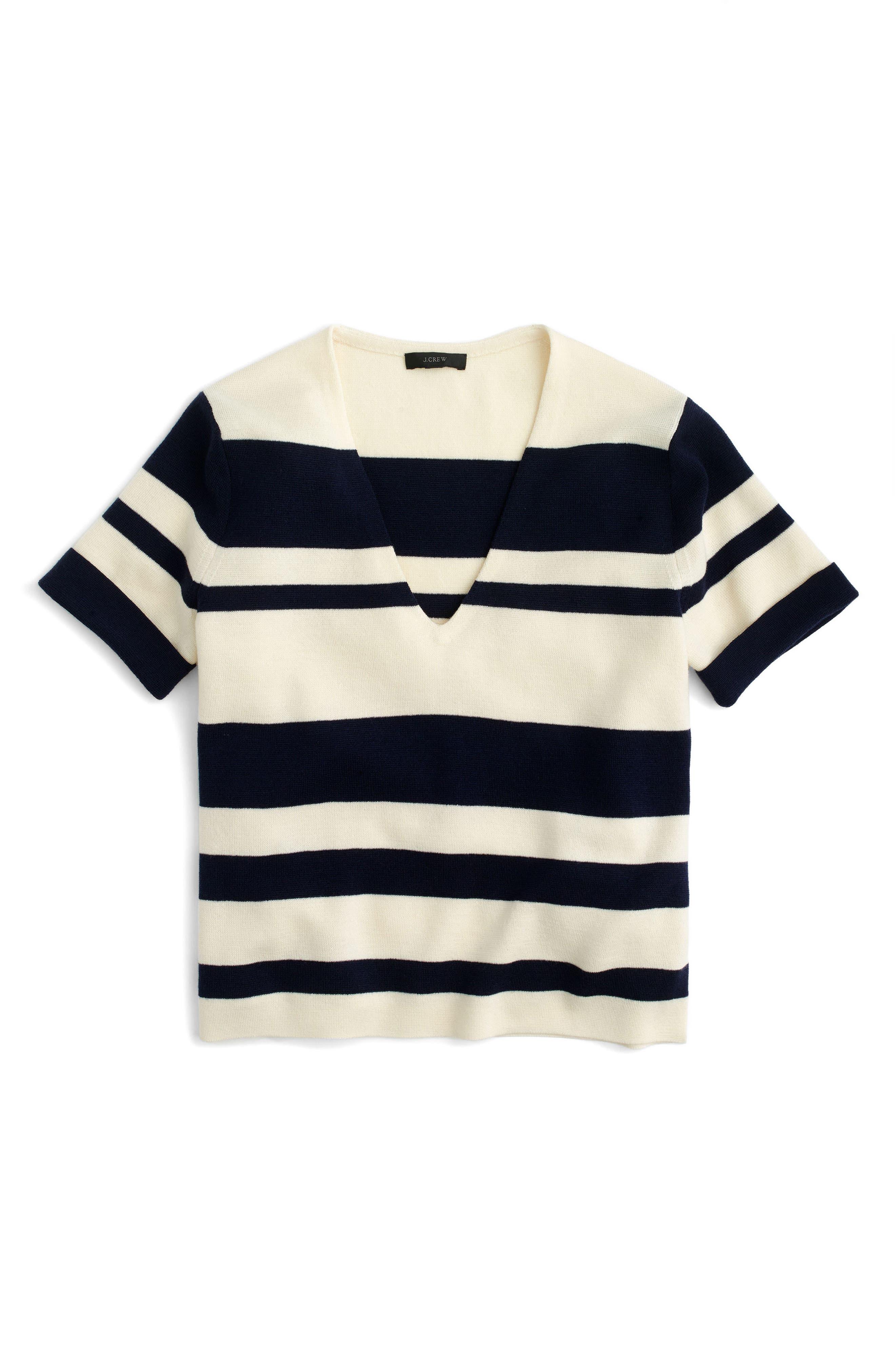 Alternate Image 3  - J.Crew Stripe Wool V-Neck Sweater
