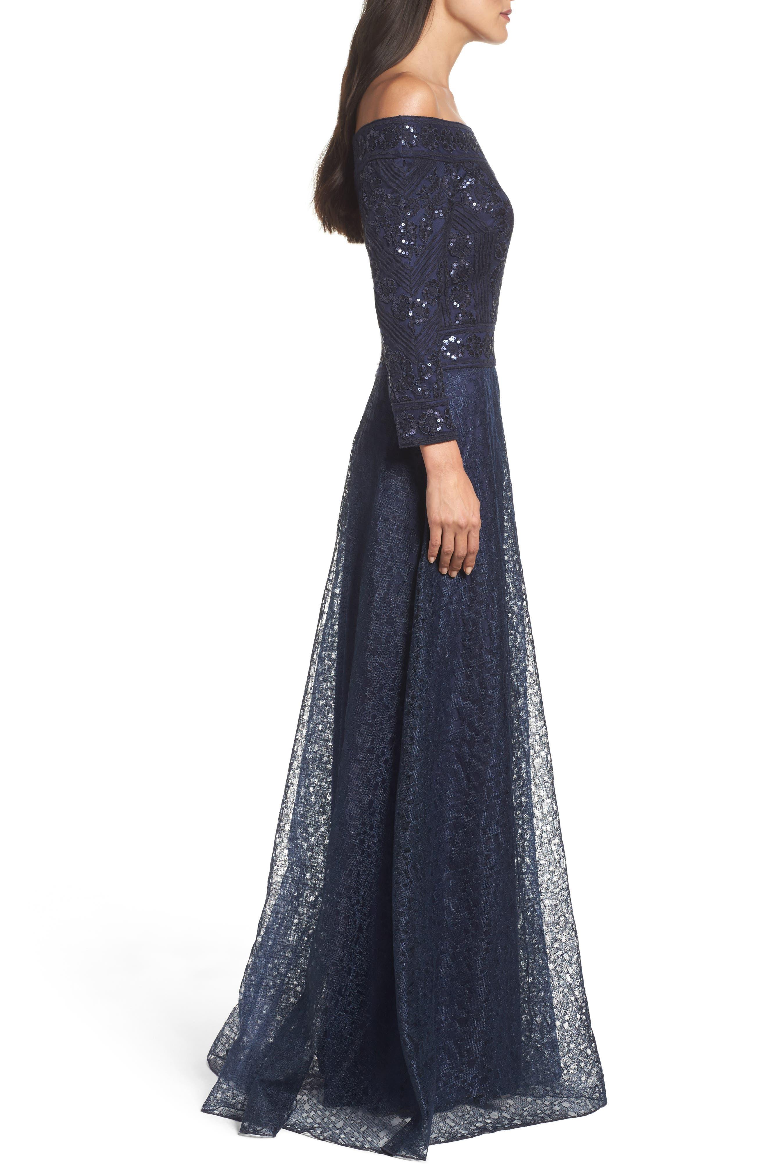 Alternate Image 3  - Tadashi Shoji Sequin Embroidered Tulle Off the Shoulder Gown