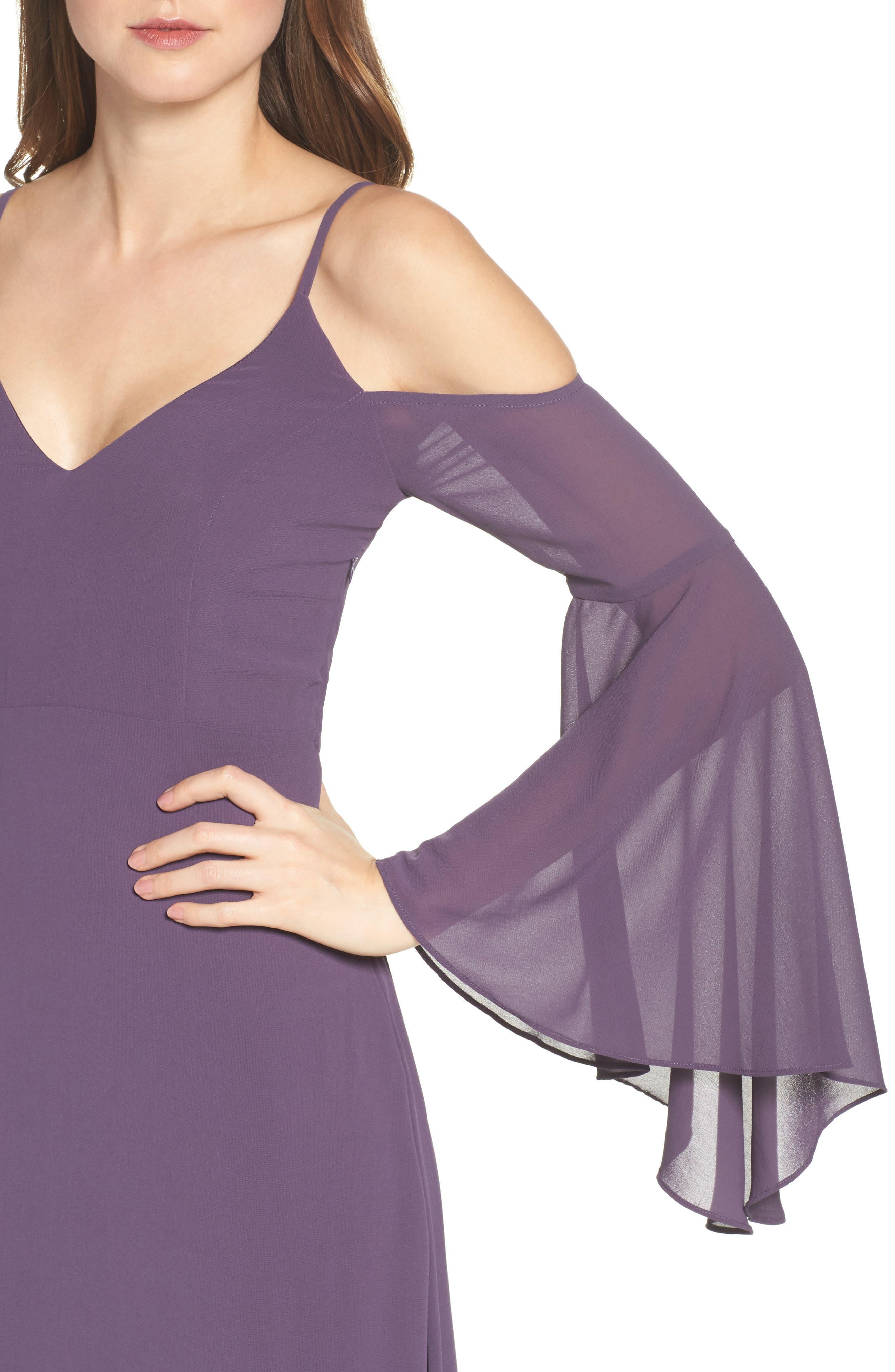 Alternate Image 4  - Lulus Cold Shoulder Chiffon Maxi Dress