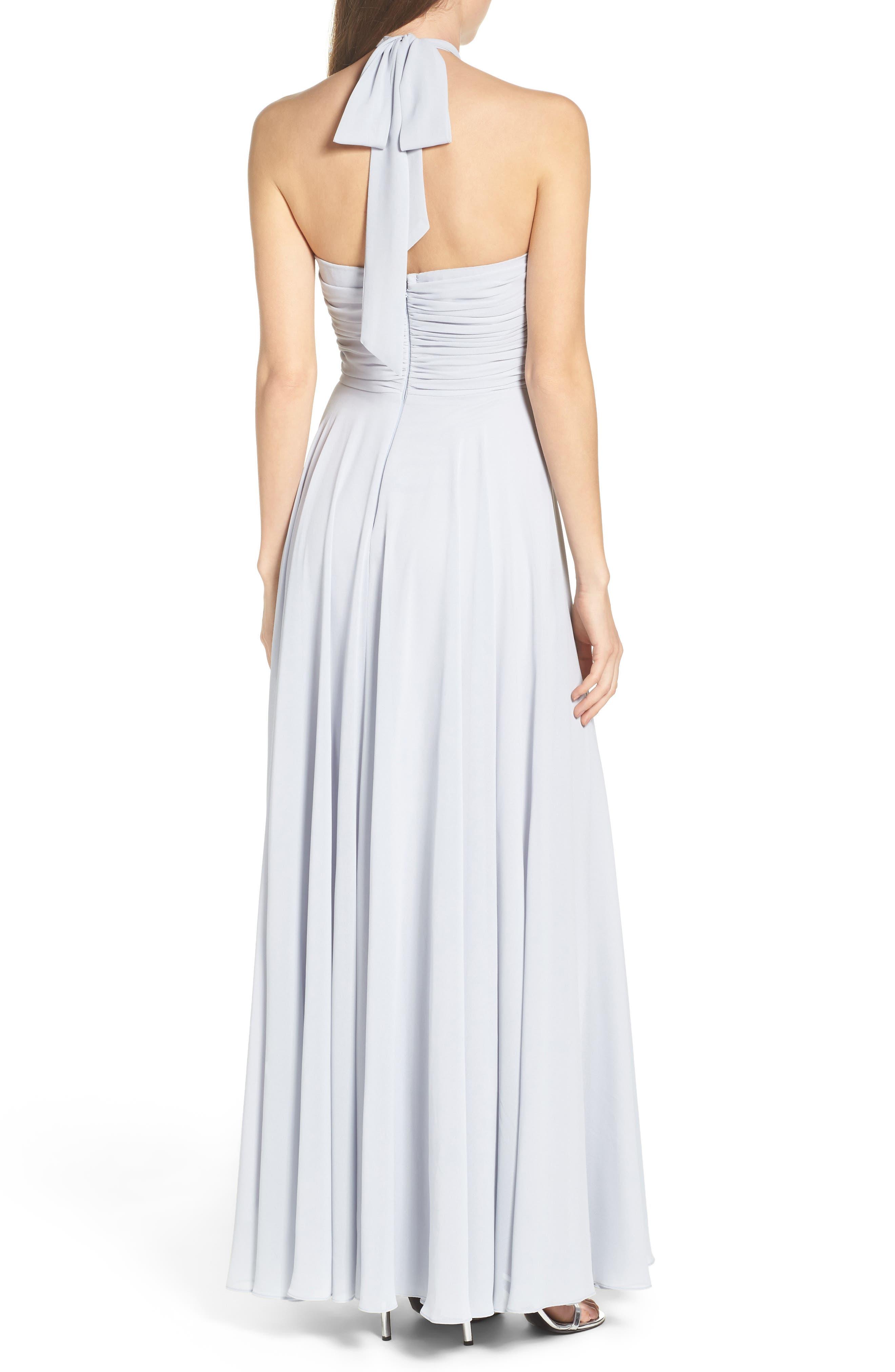 Alternate Image 2  - Lulus Chiffon Halter Gown