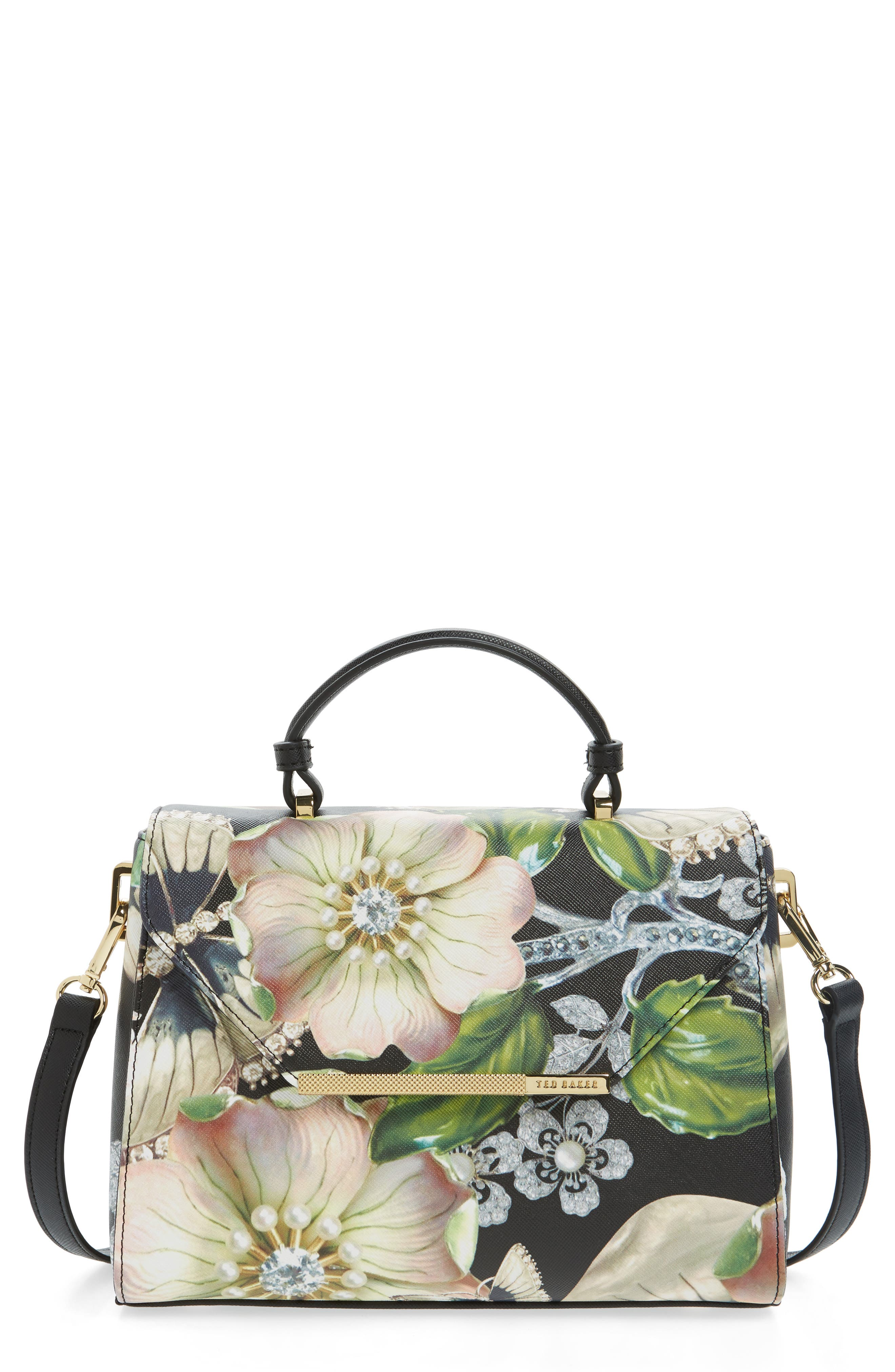 Main Image - Ted Baker London Small Gem Gardens Faux Leather Top Handle Satchel
